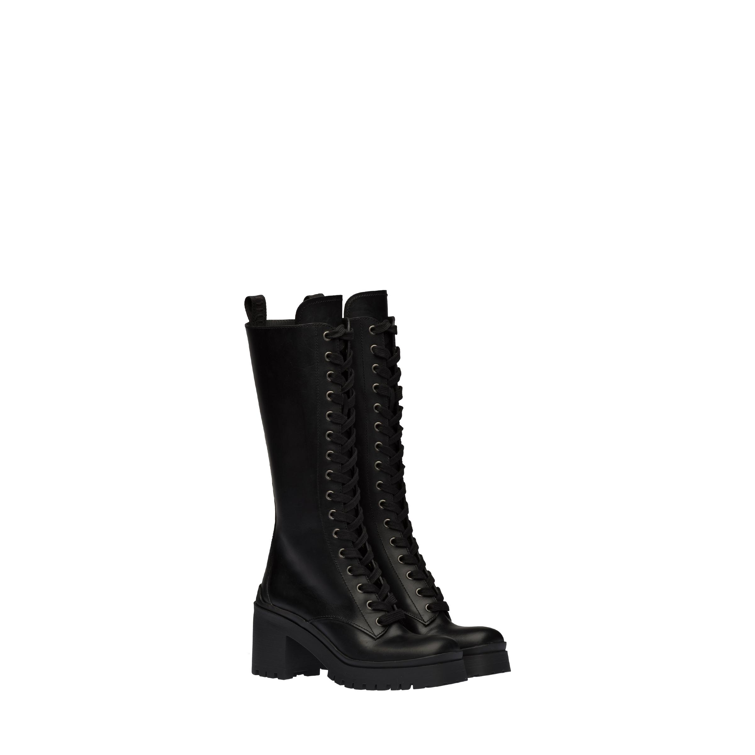 Laced Leather Boots Women Black