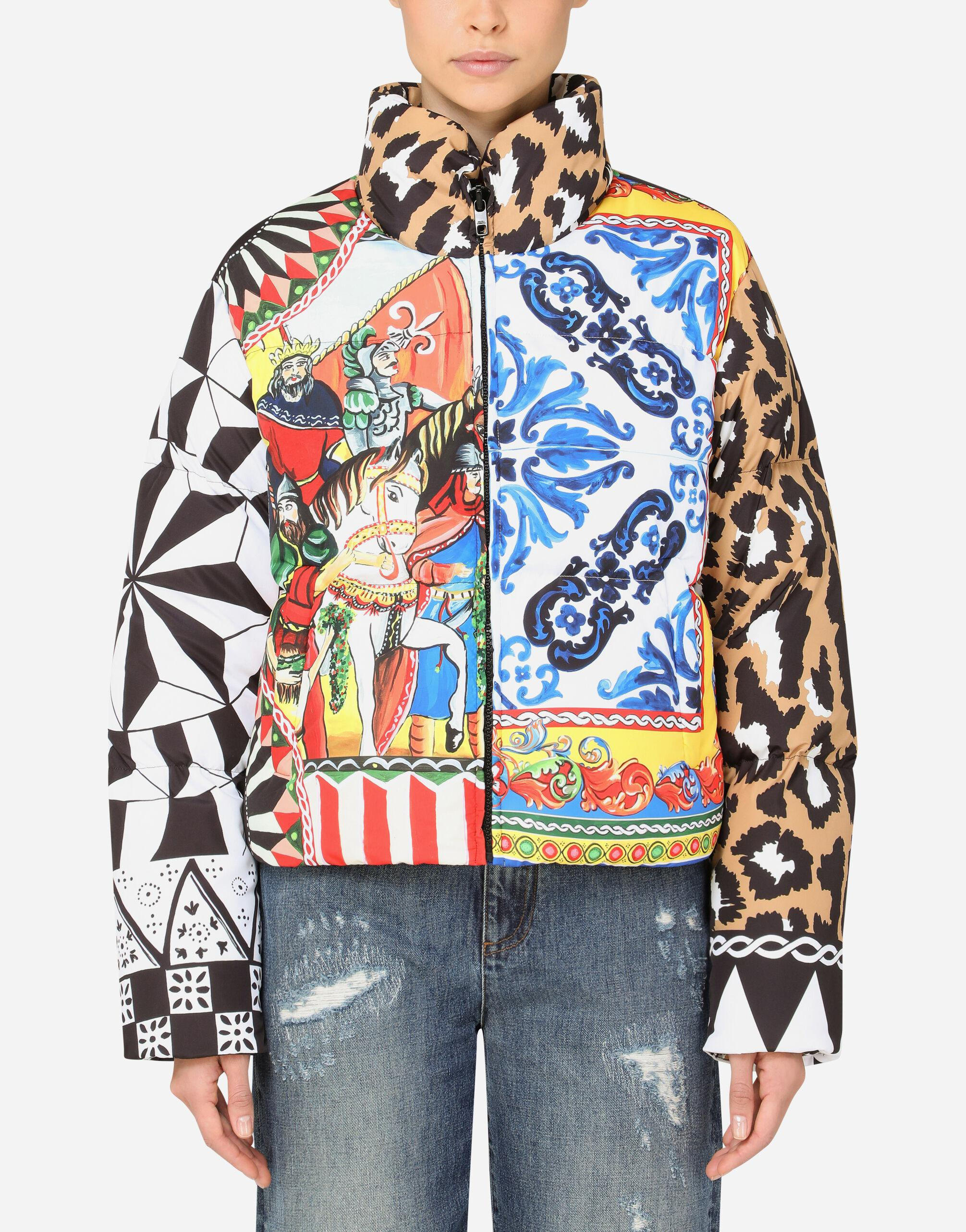 Padded nylon jacket with patchwork print