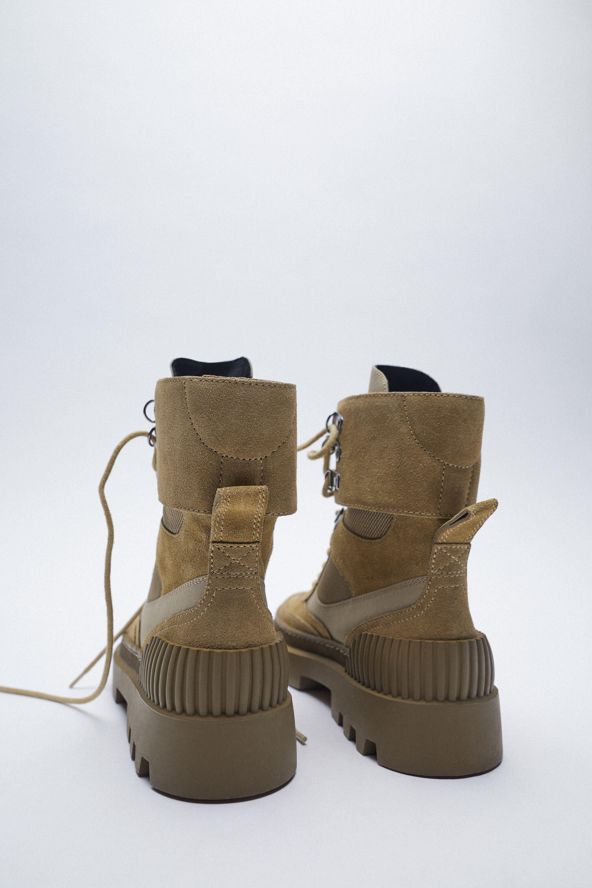 LACED SPLIT LEATHER LOW HEEL ANKLE BOOTS 6