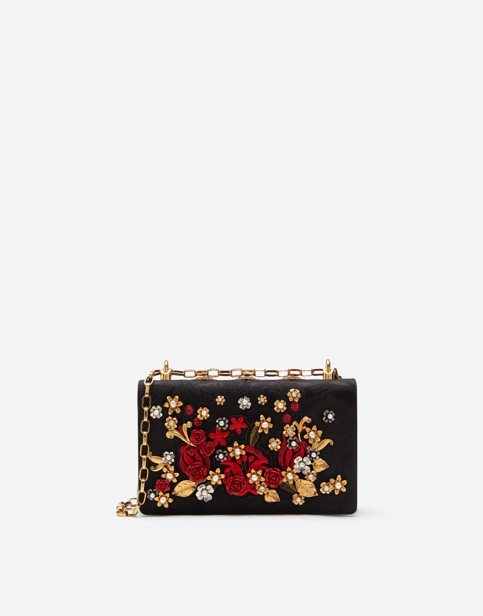 DG Girls cross-body bag in brocade with appliqués and embroidery