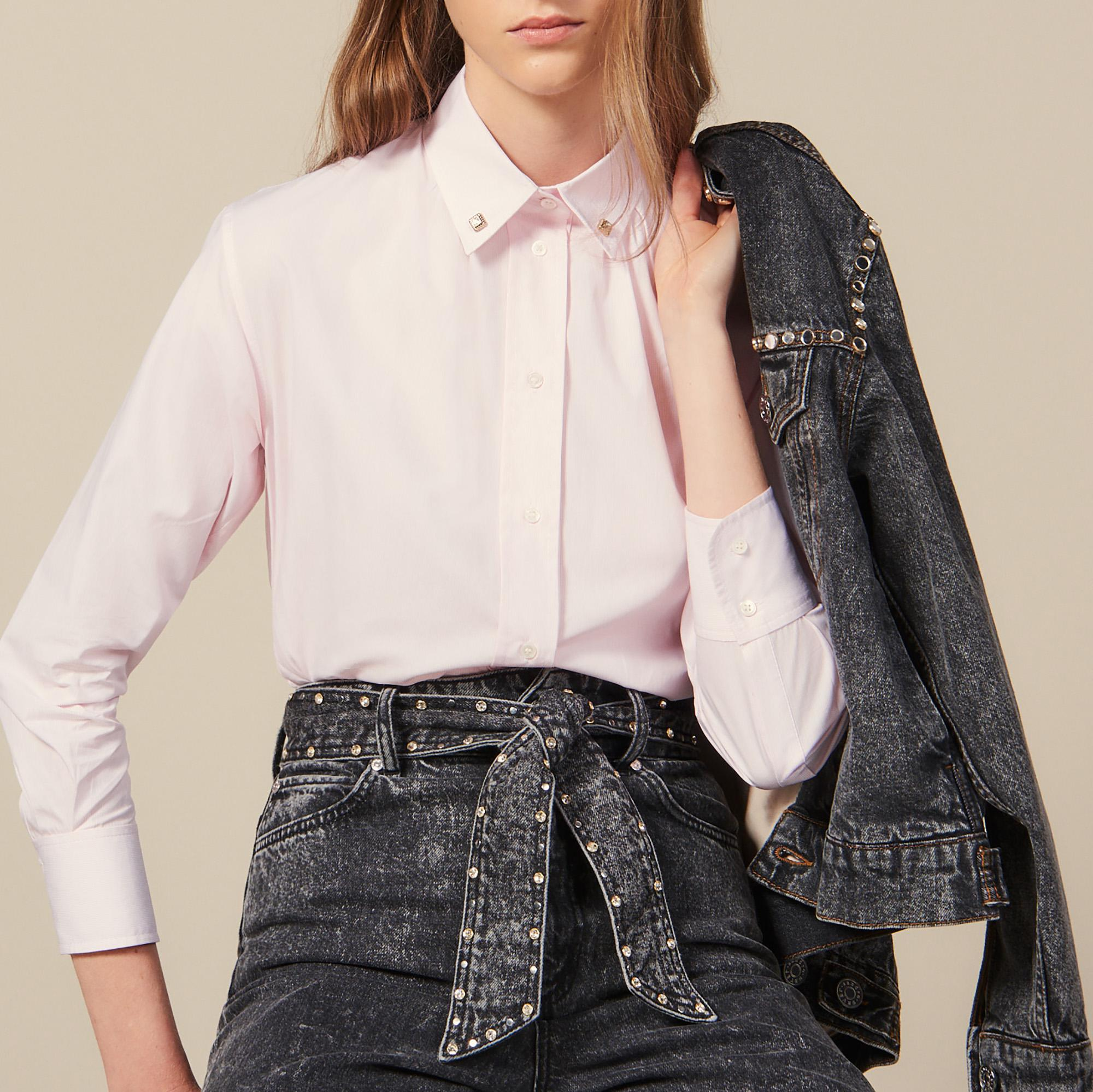 Shirt with jewelled buttons at collar