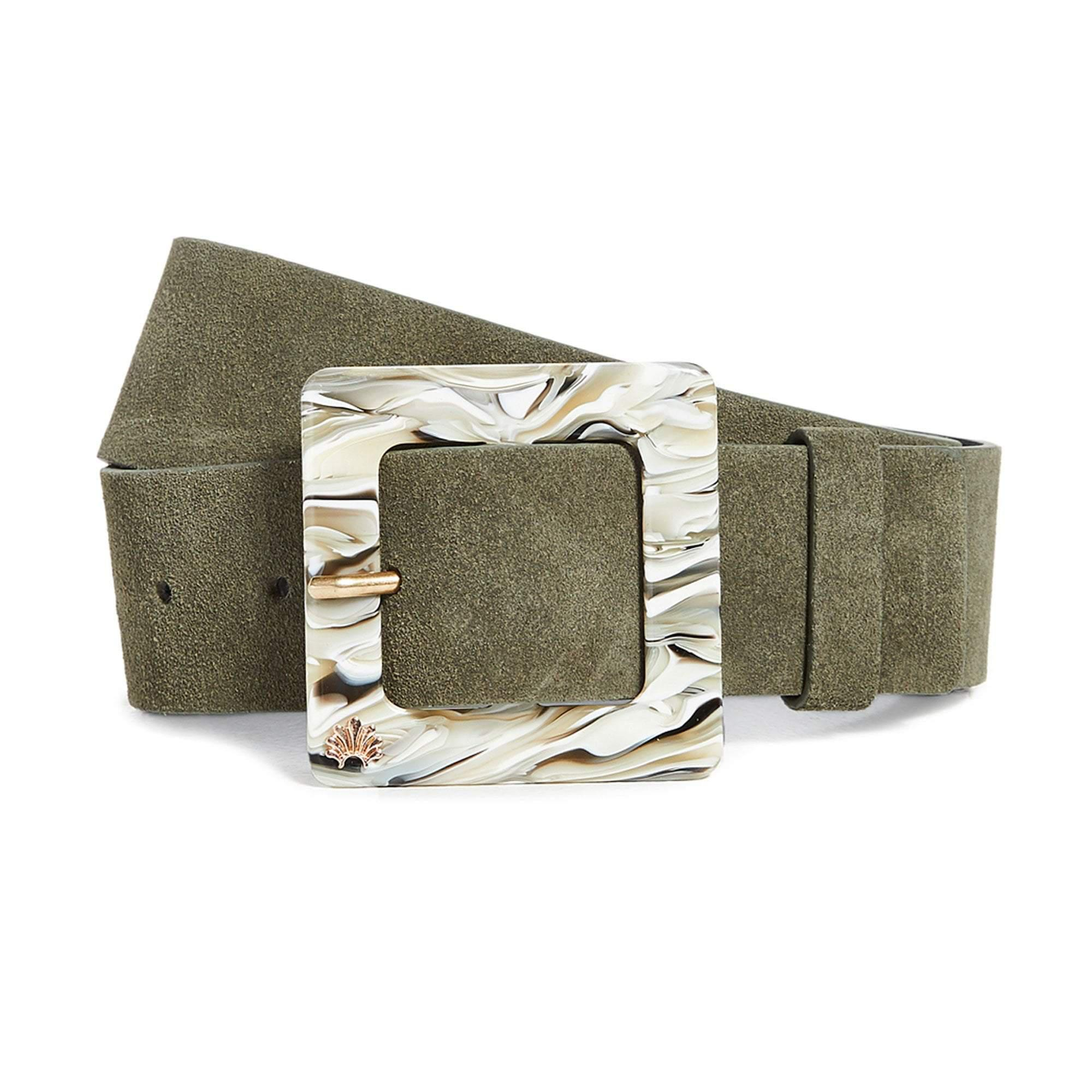 OLIVE SUEDE AND MARBLED ACETATE BELT