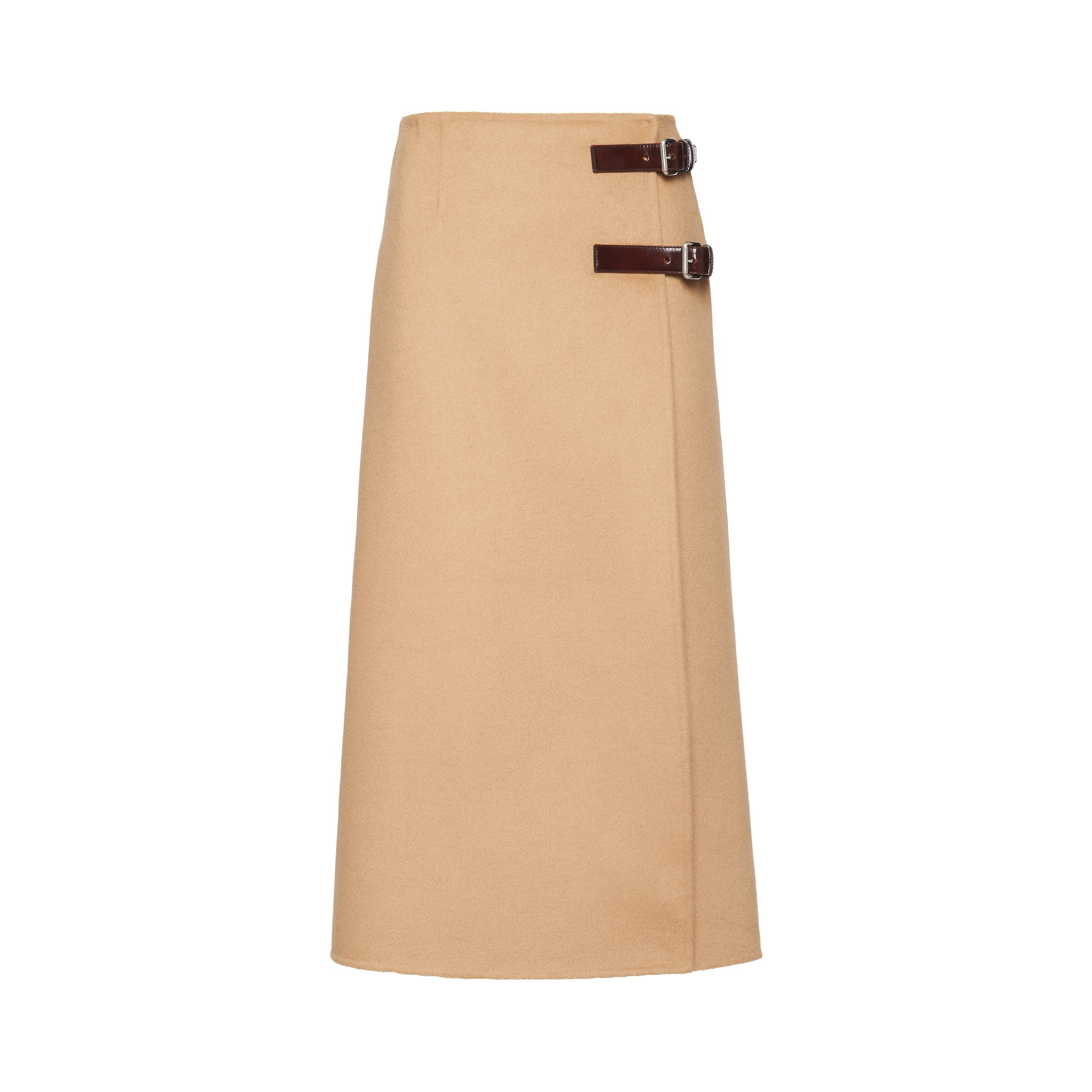 Wool And Cashmere Skirt Women Camel Brown