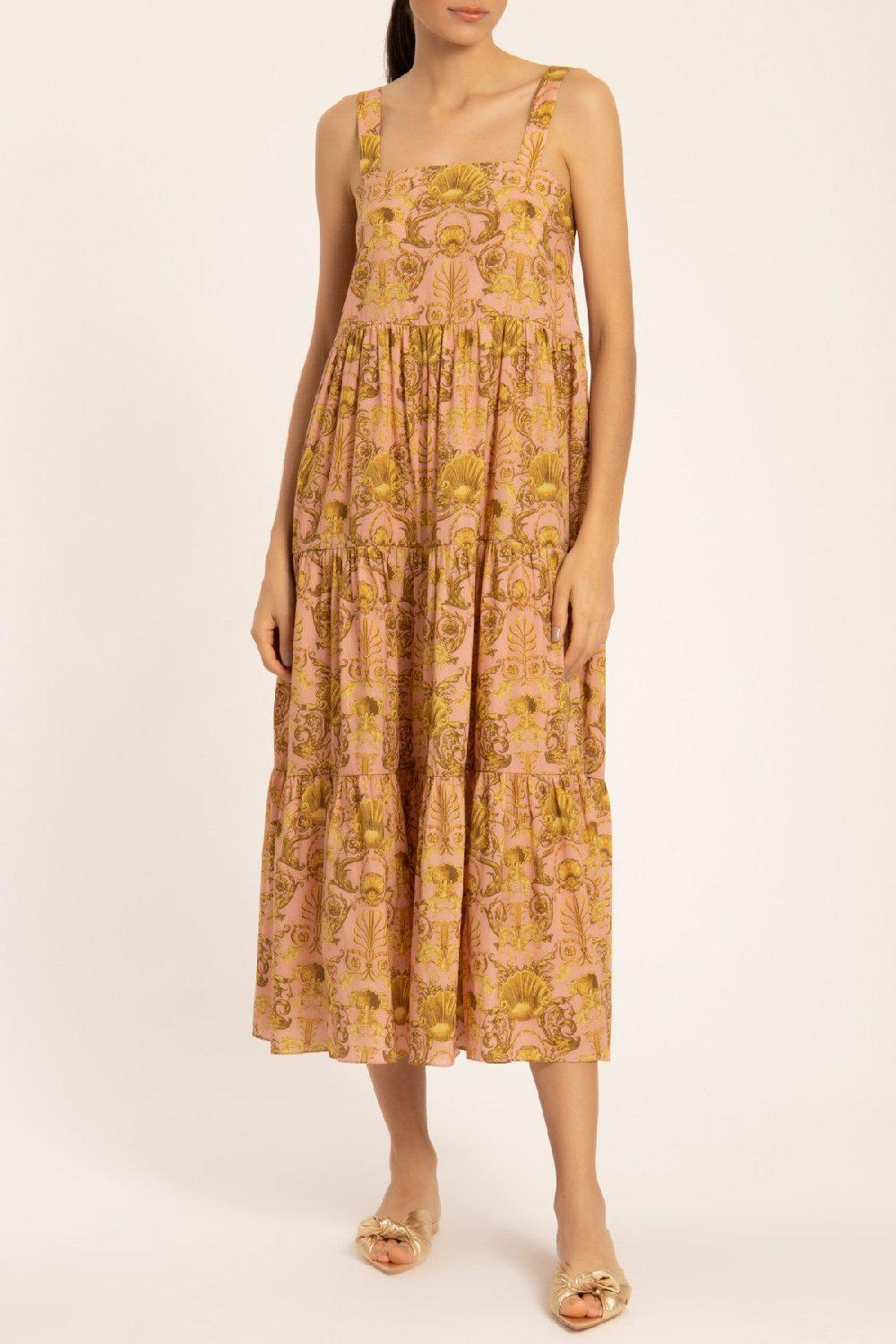 Seashell Frilled Midi Dress With Straps