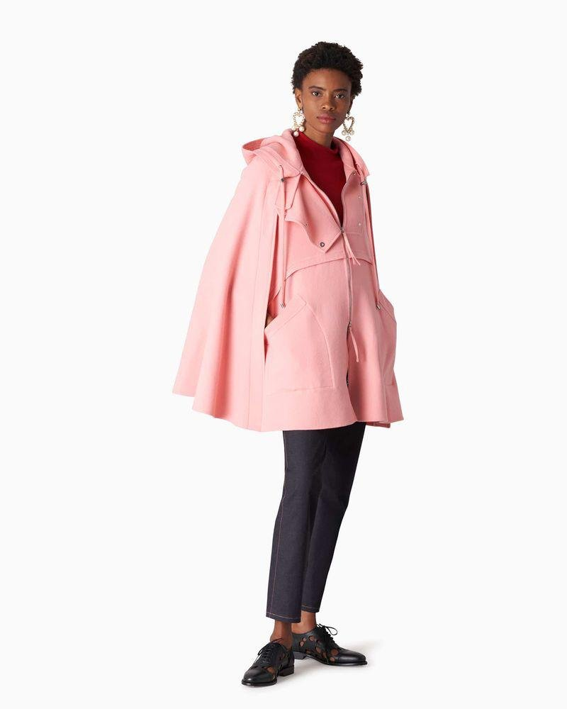 Short Double-Faced Wool Parka Cape