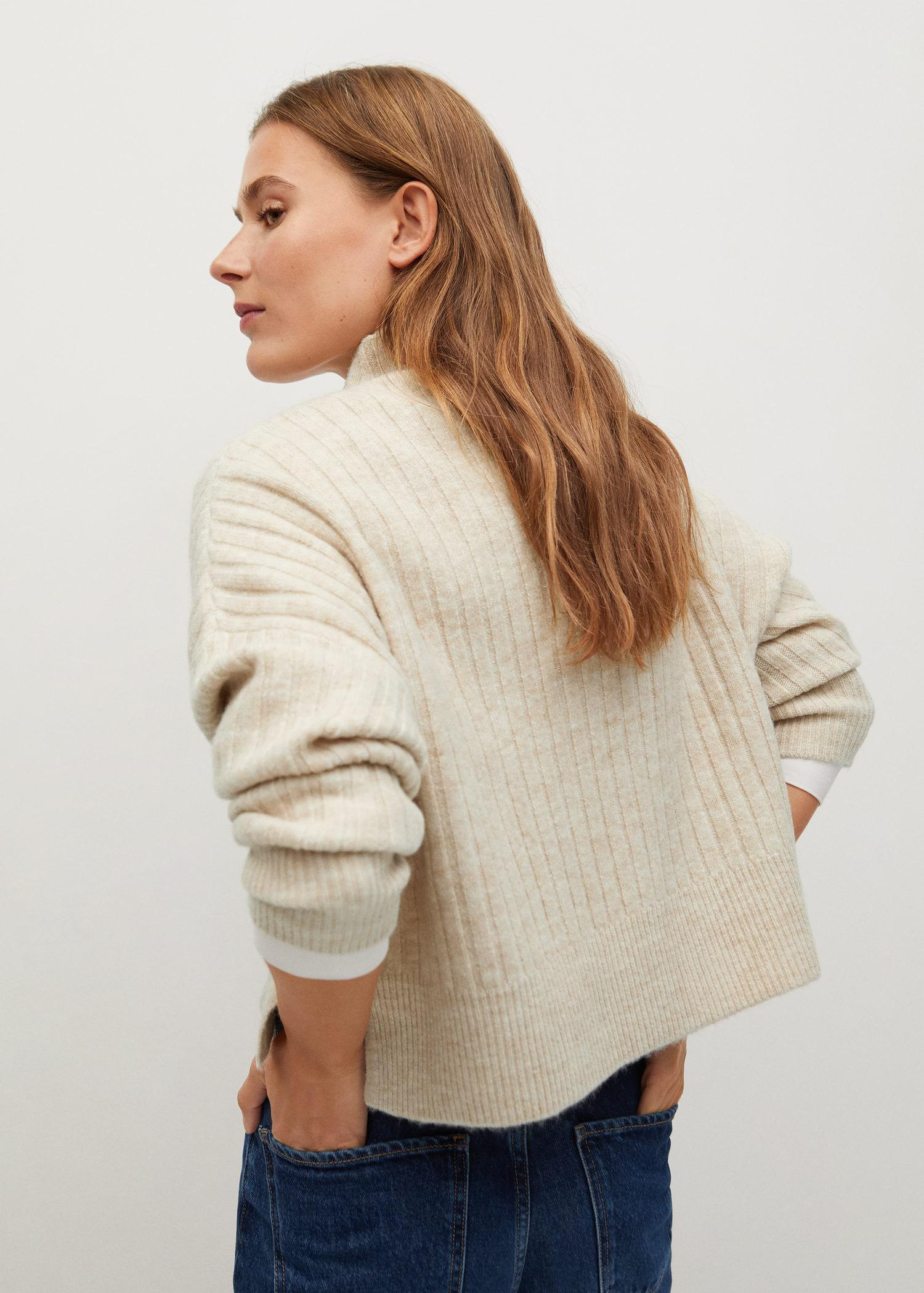 High collar ribbed knit sweater 2