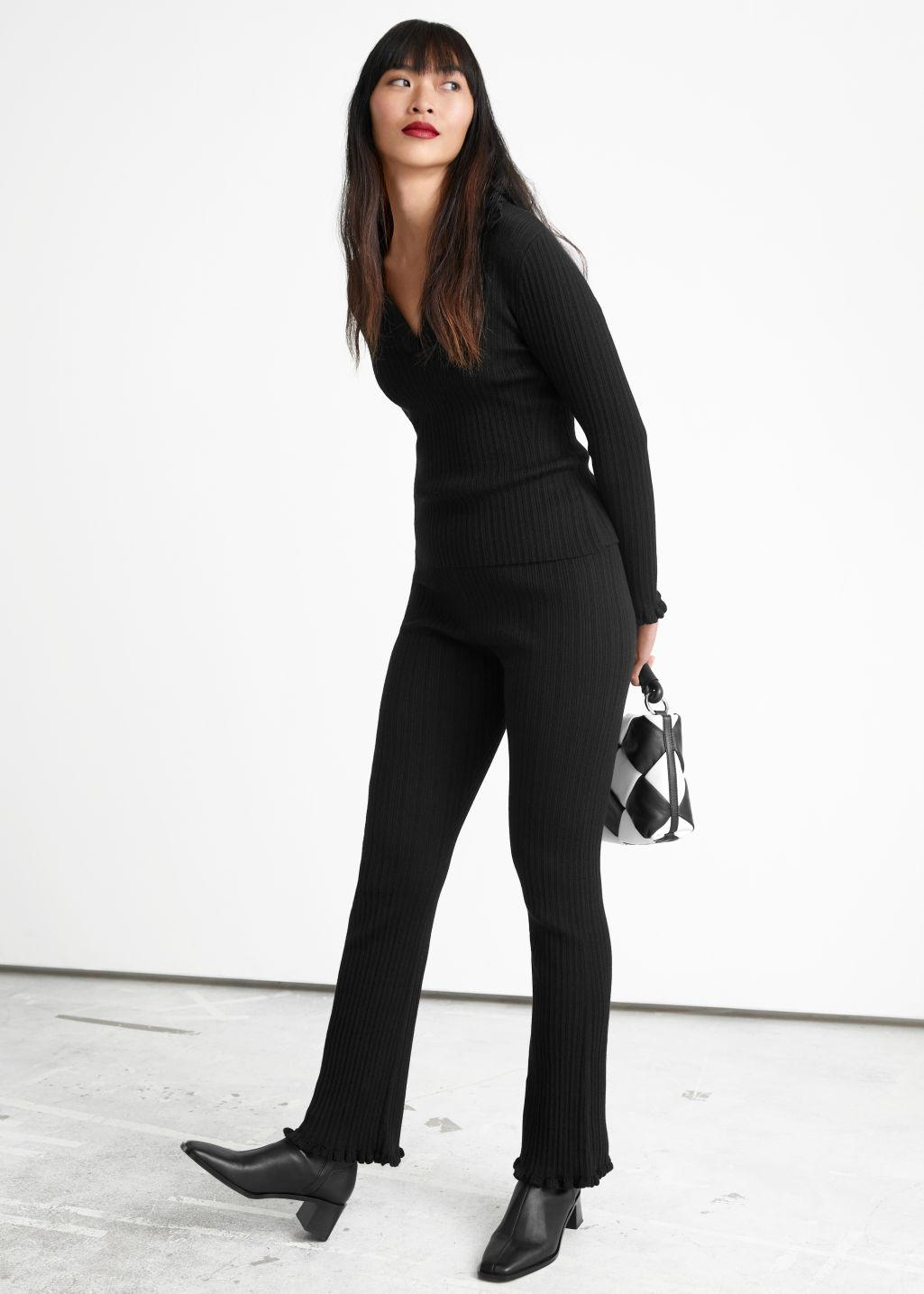 Fitted Rib Knit Trousers