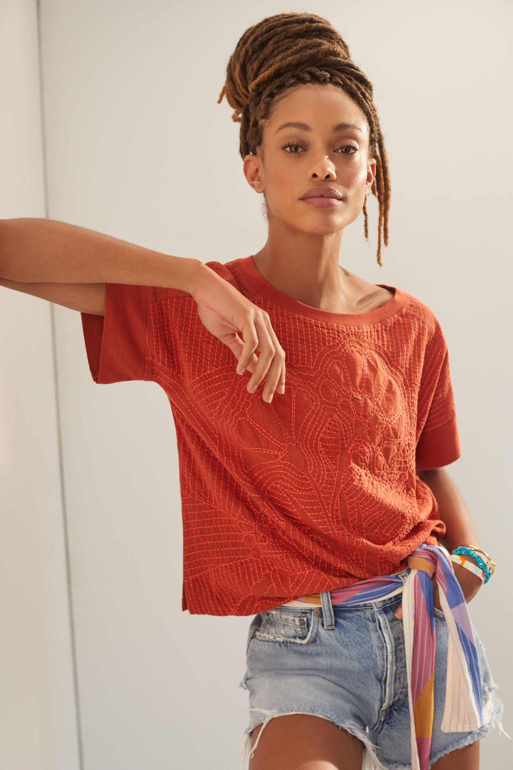 Contrast Embroidered Tee