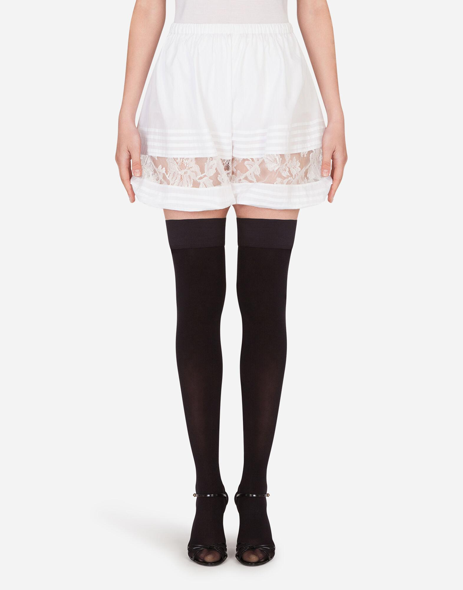 Silk shorts with lace details