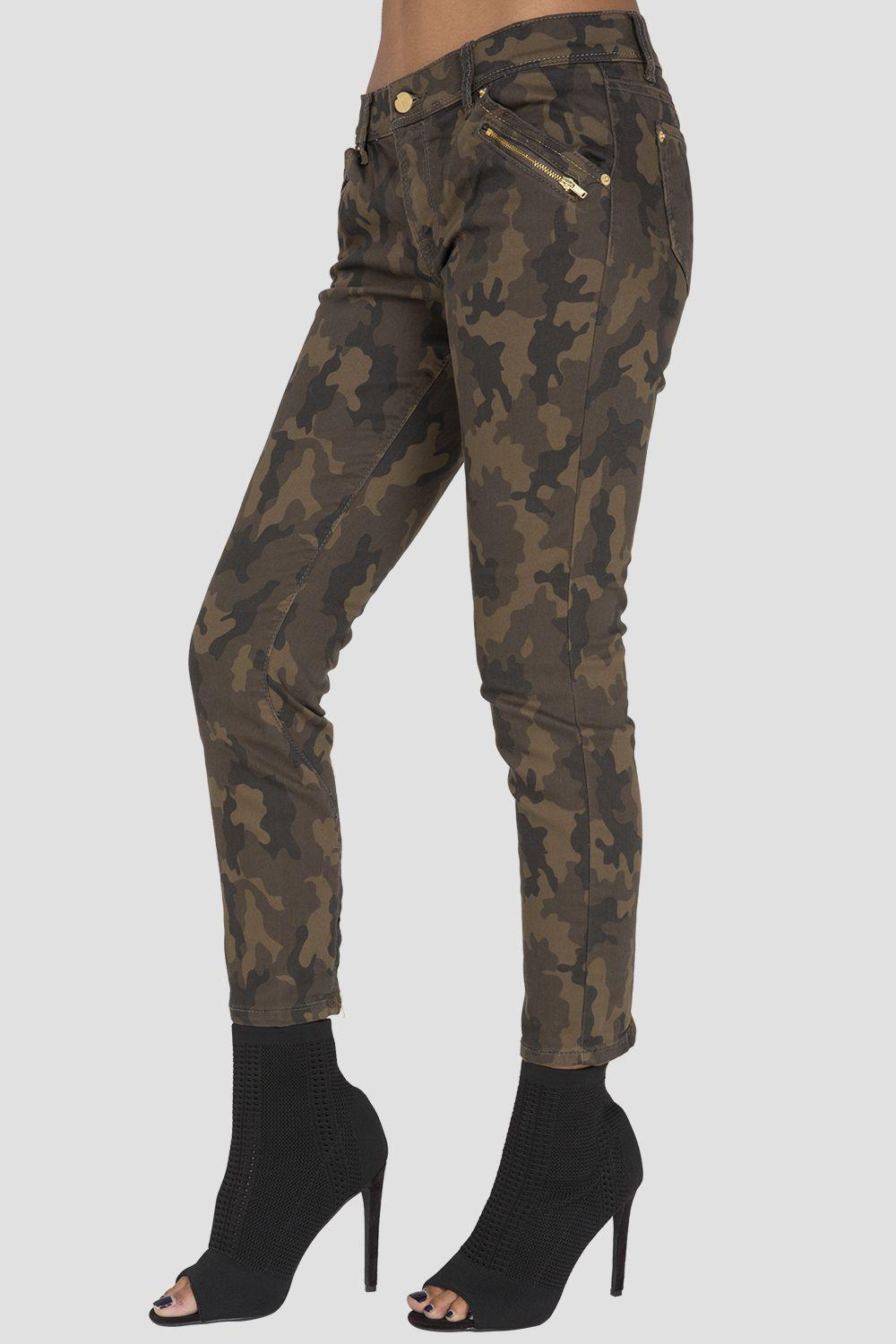Saint Camo Pieced Ankle Zippers Cropped Skinny Jeans