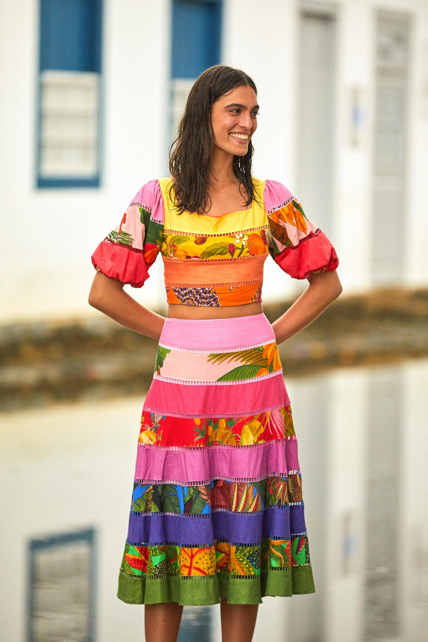 RAINBOW MIXED PRINTS TIERED TOPED TOP