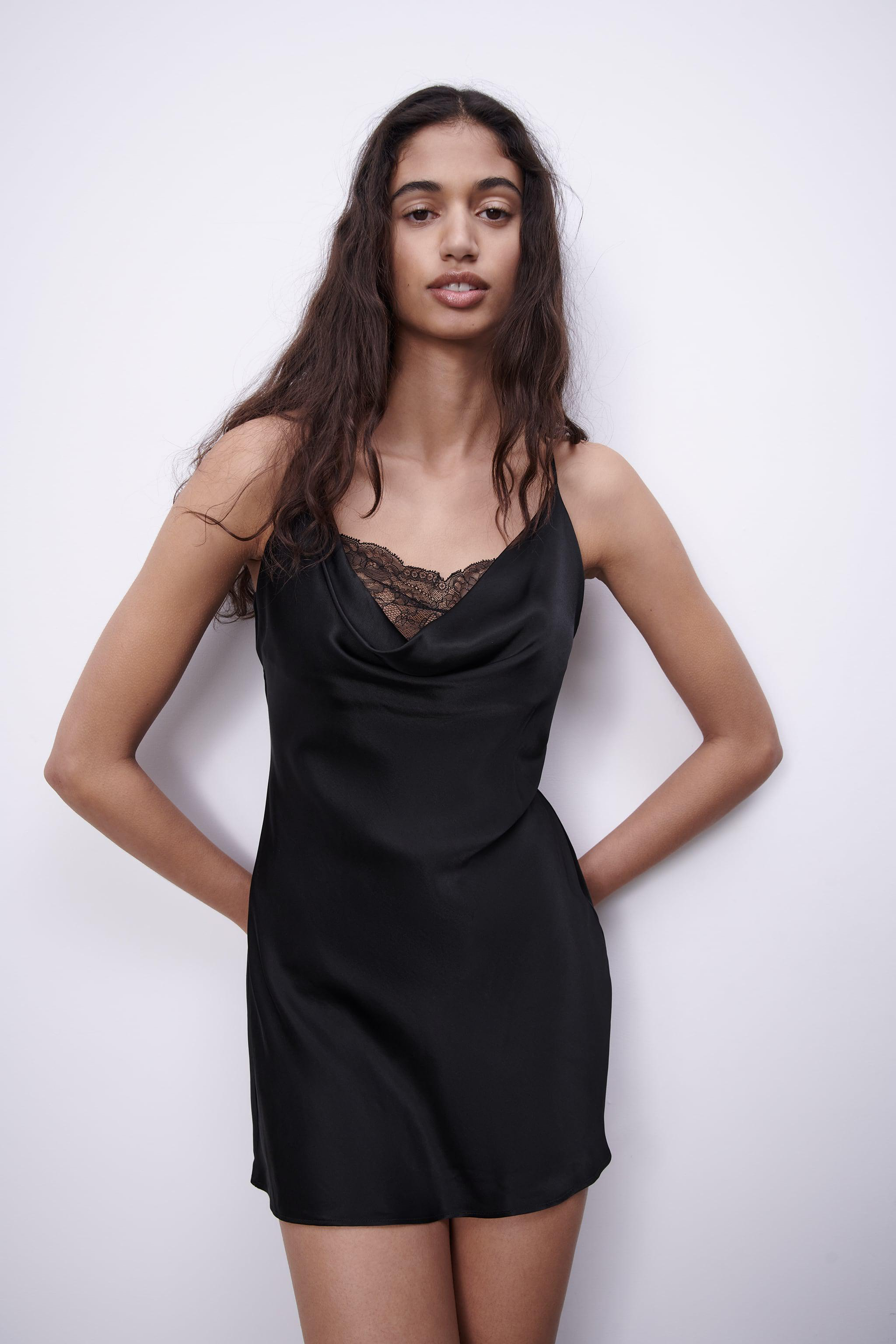 SATIN EFFECT DRESS WITH LACE 2