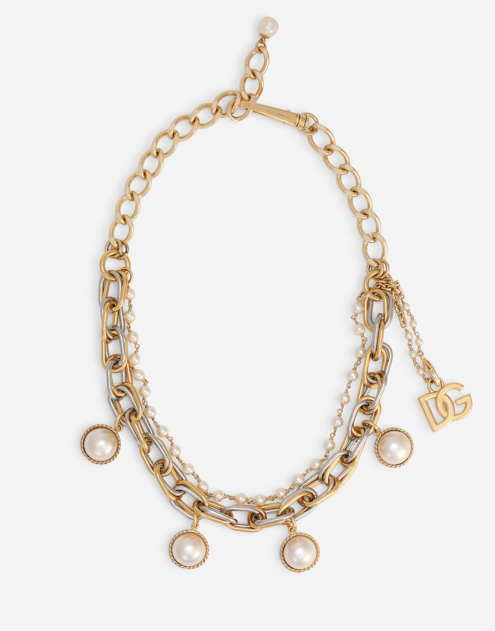 Double-chain necklace with pearl charms