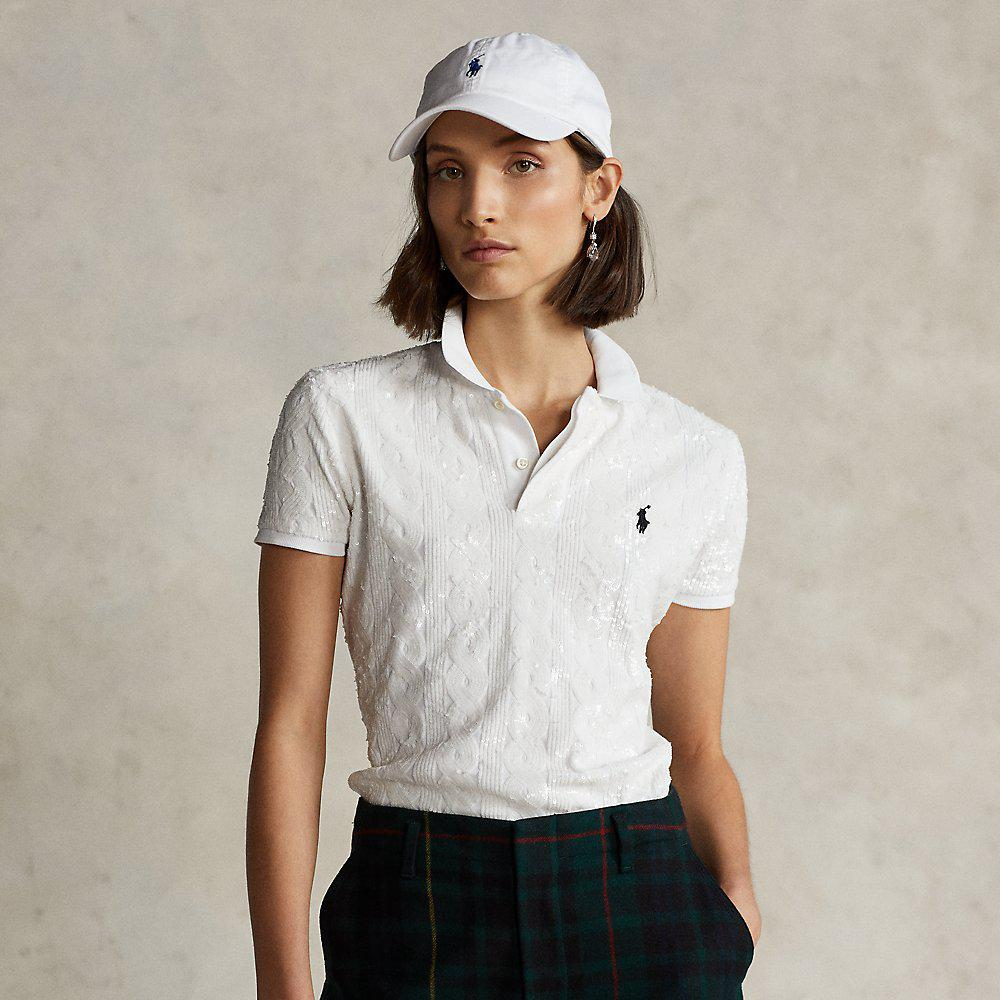 Sequined Cable-Knit Polo Shirt