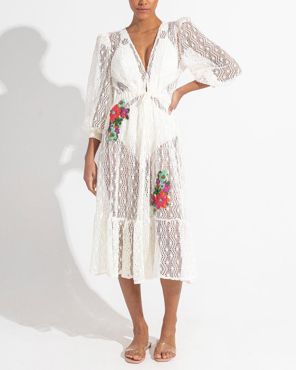 Embroidered Crochet Coverup Dress 4