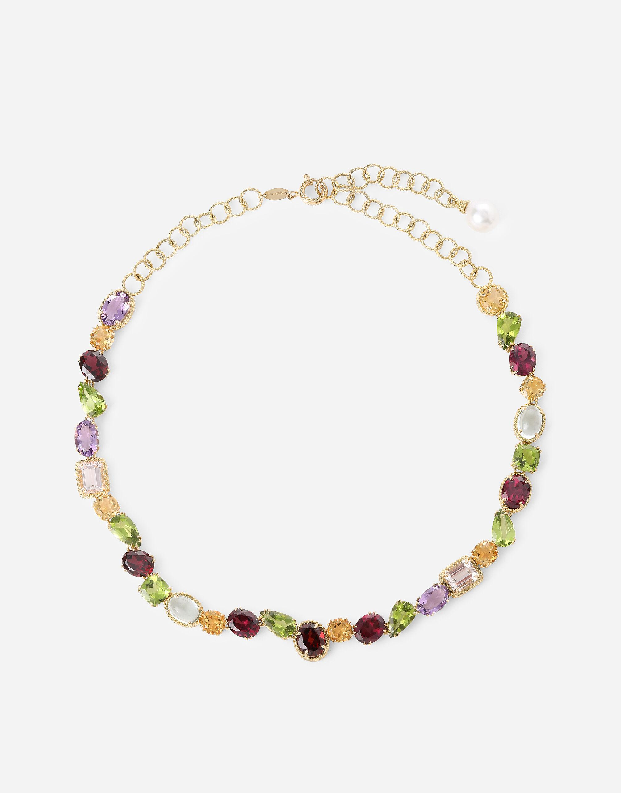 Anna necklace in yellow 18kt gold with different multicoulour gemstones