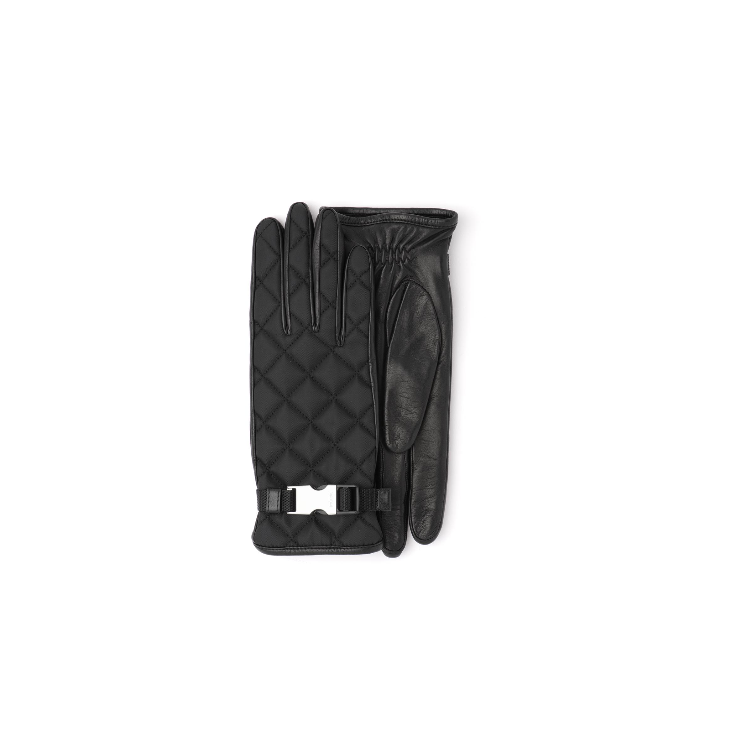 Quilted Nylon And Nappa Leather Gloves Women Black