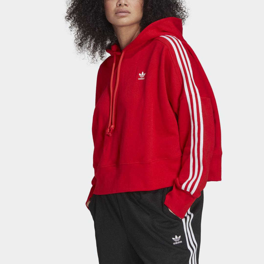 Adicolor Classics Cropped Hoodie (Plus Size) Red 3