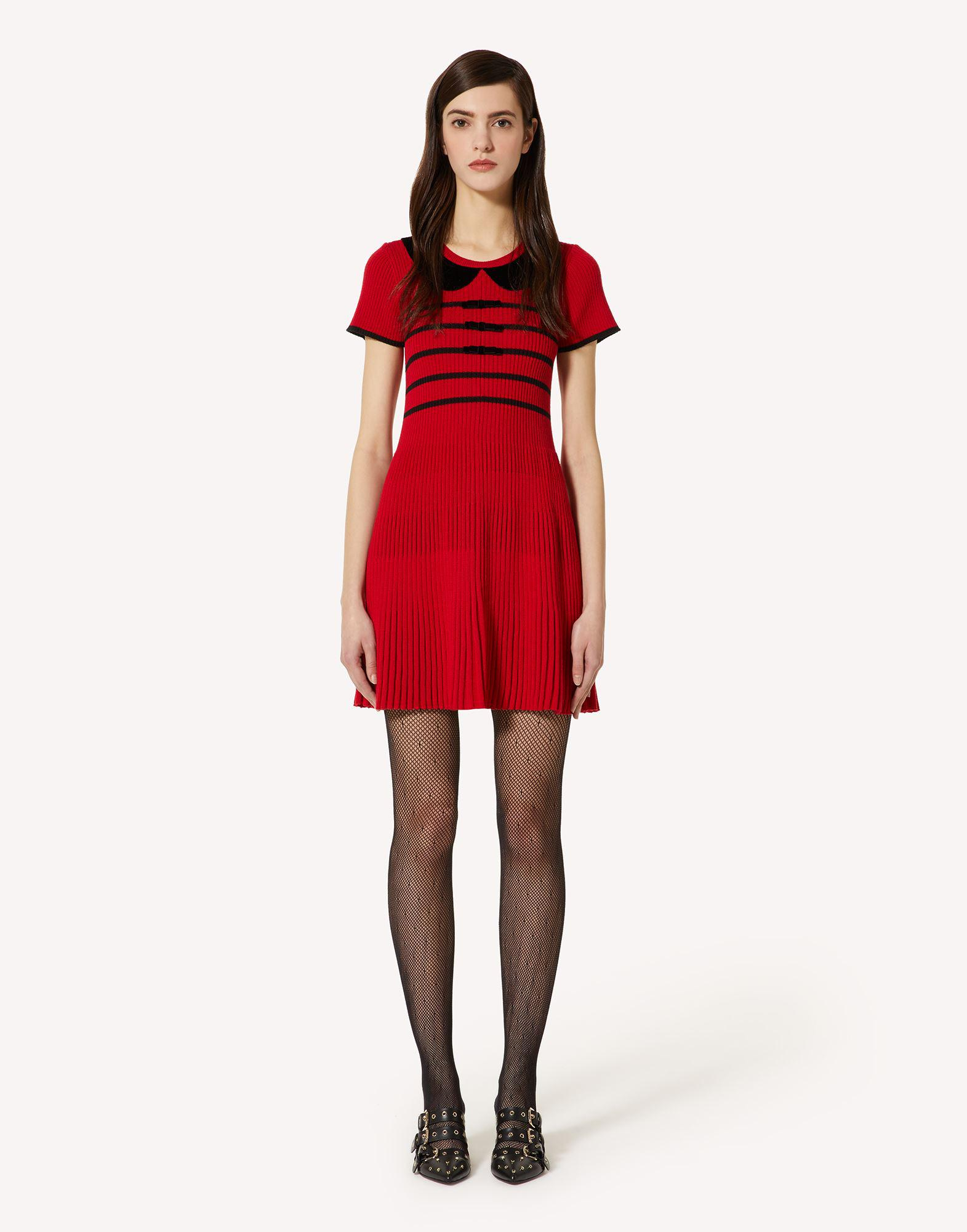 WOOL KNIT DRESS WITH BOWS