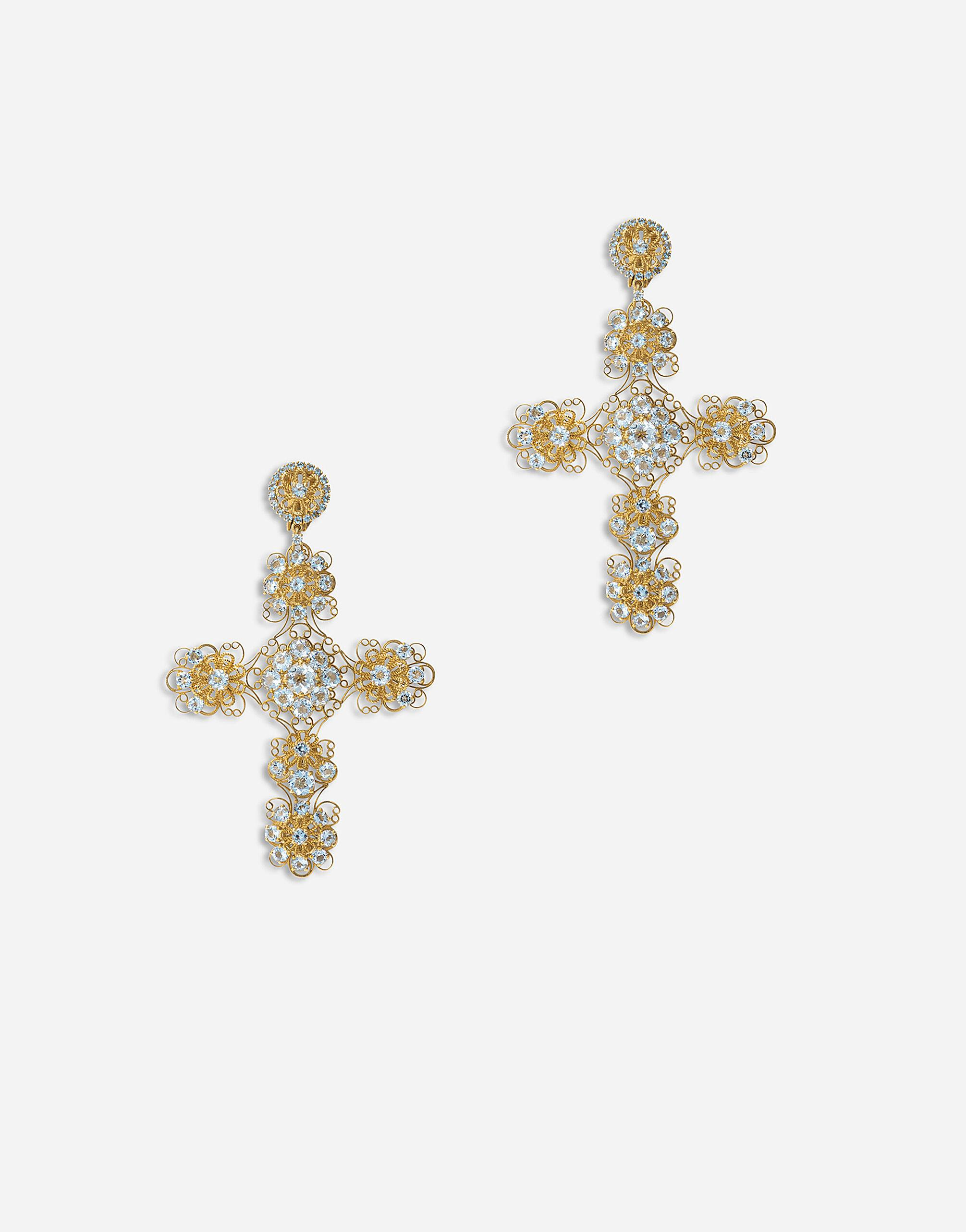 Pizzo earrings in yellow 18kt gold with aquamarines