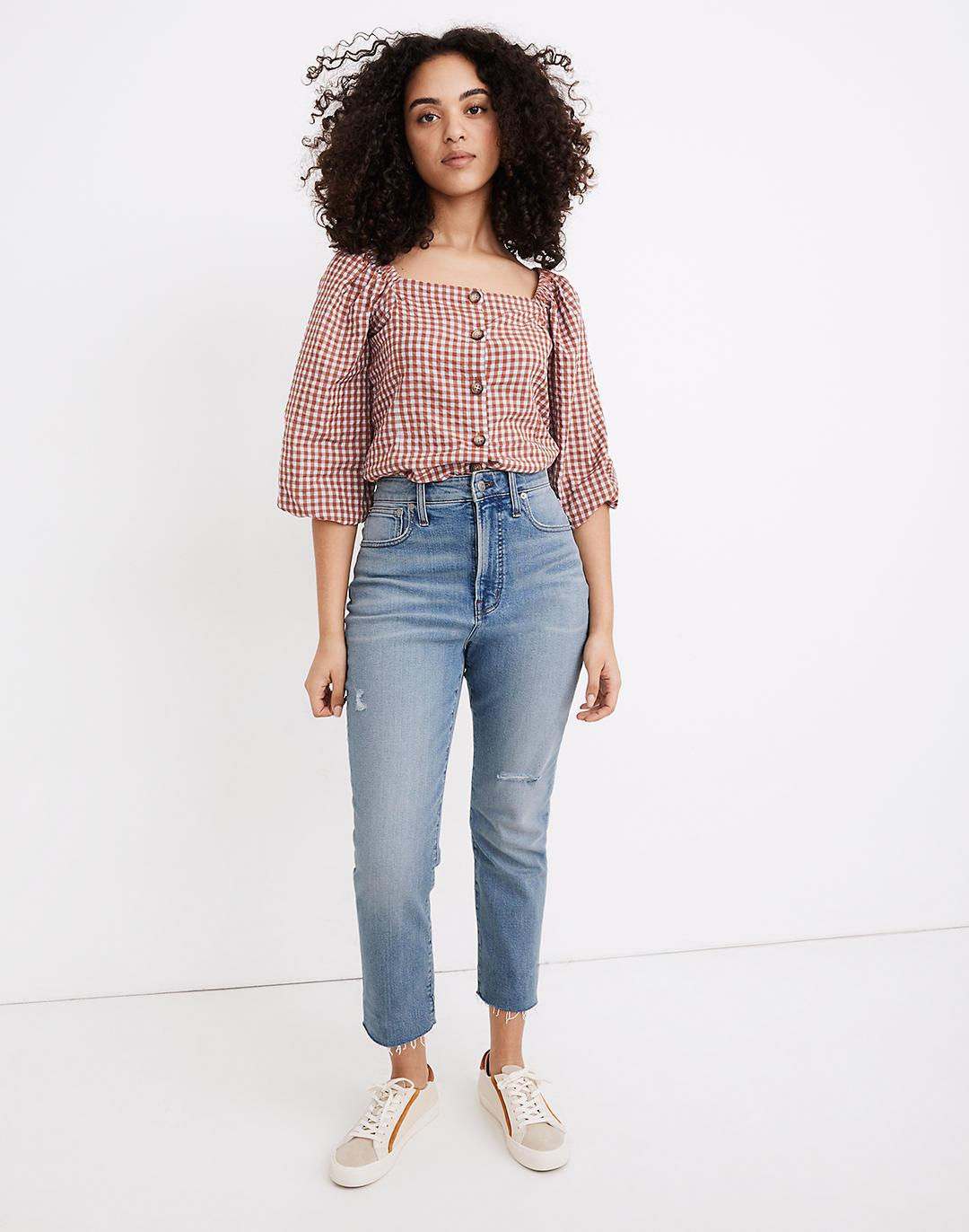 The Petite Curvy Perfect Vintage Jean in Coffey Wash: Worn-In Edition