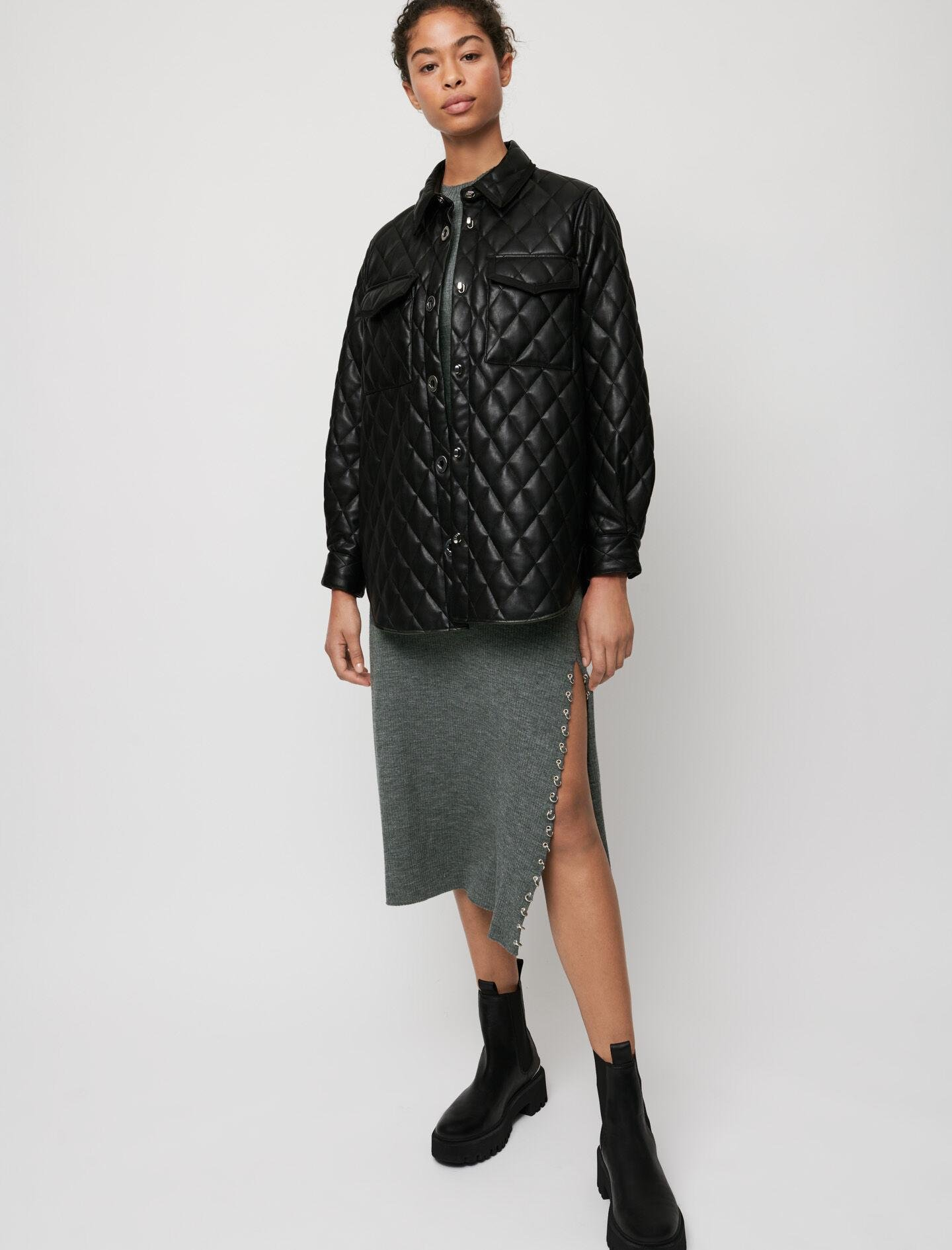 LEATHER-LOOK QUILTED OVERSHIRT