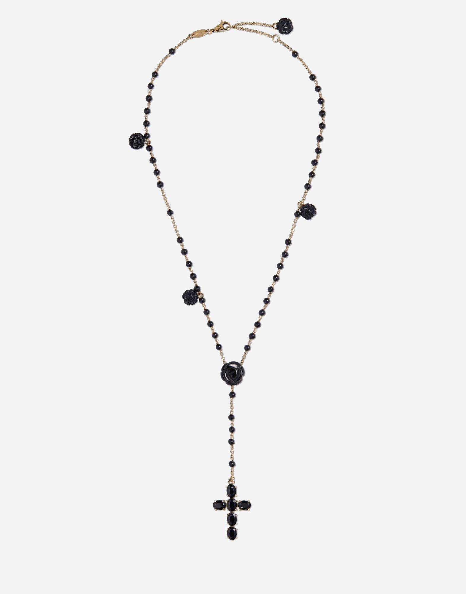 Tradition rosary in yellow gold with black sapphires