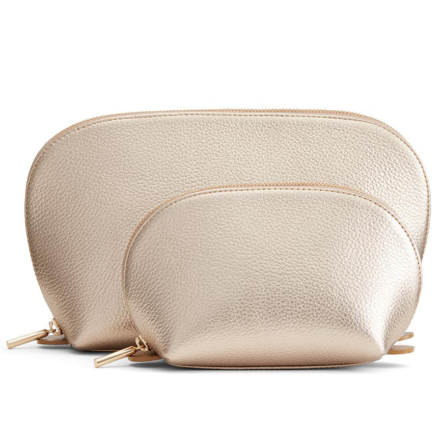 Women's Leather Travel Case Set in Champagne   Shimmer Leather by Cuyana