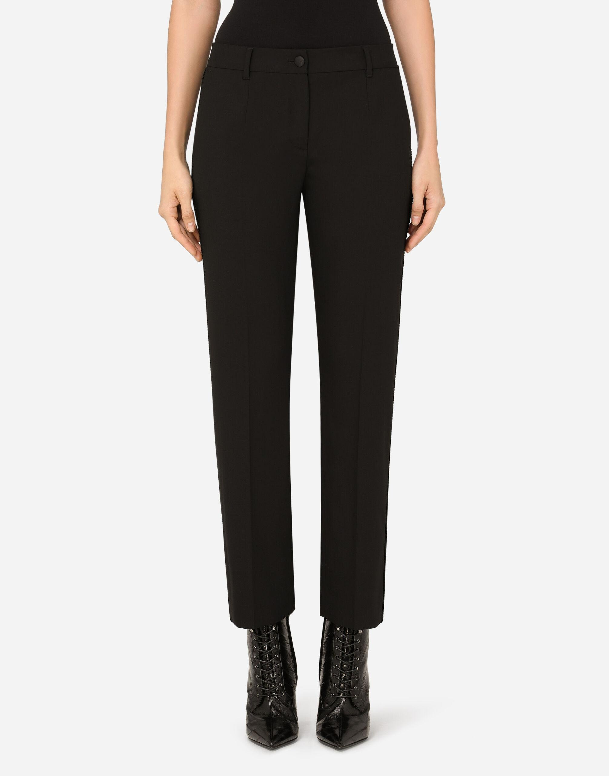 Stretch wool pants with satin bands