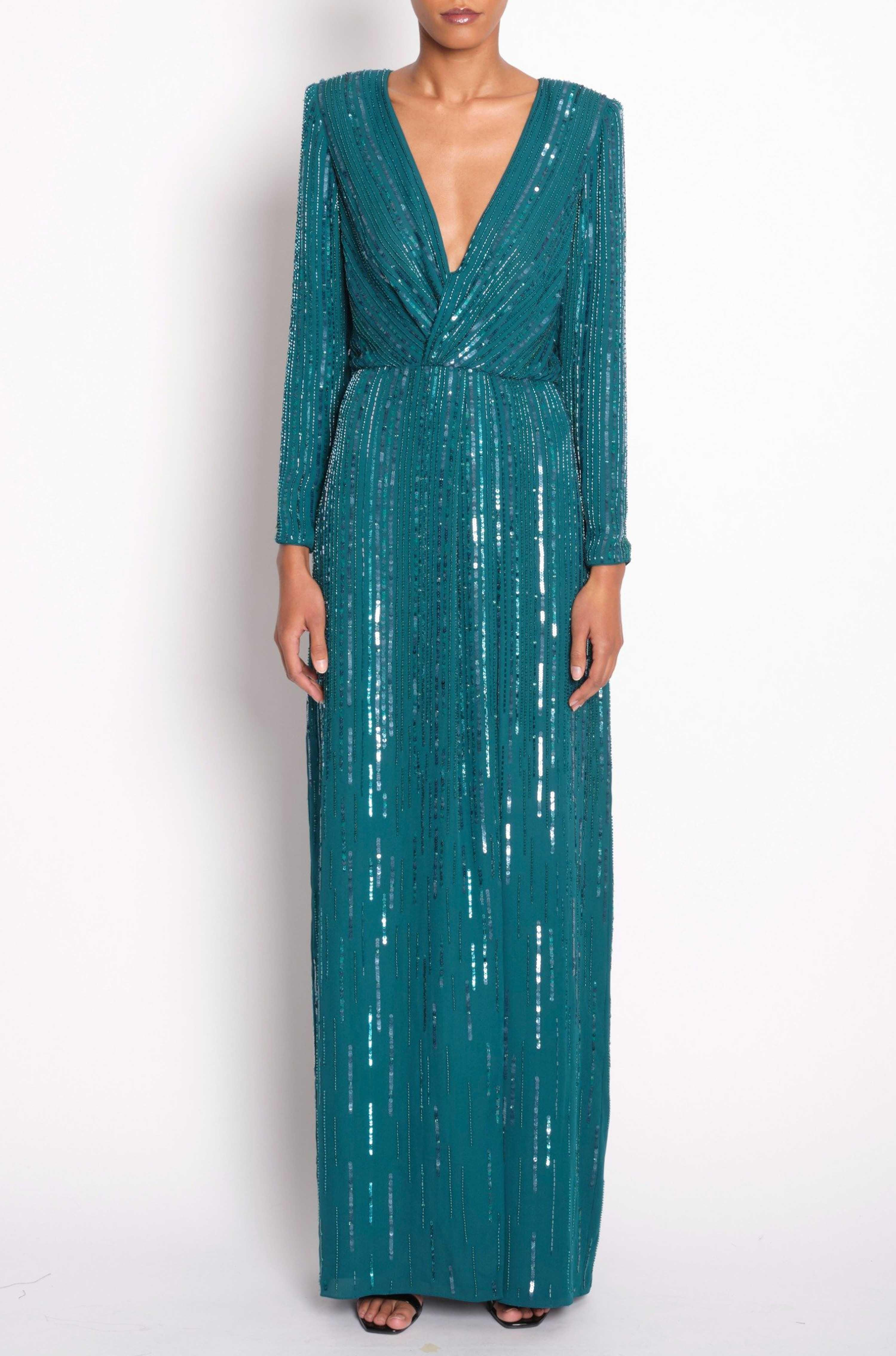 EMBROIDERED TWIST GOWN