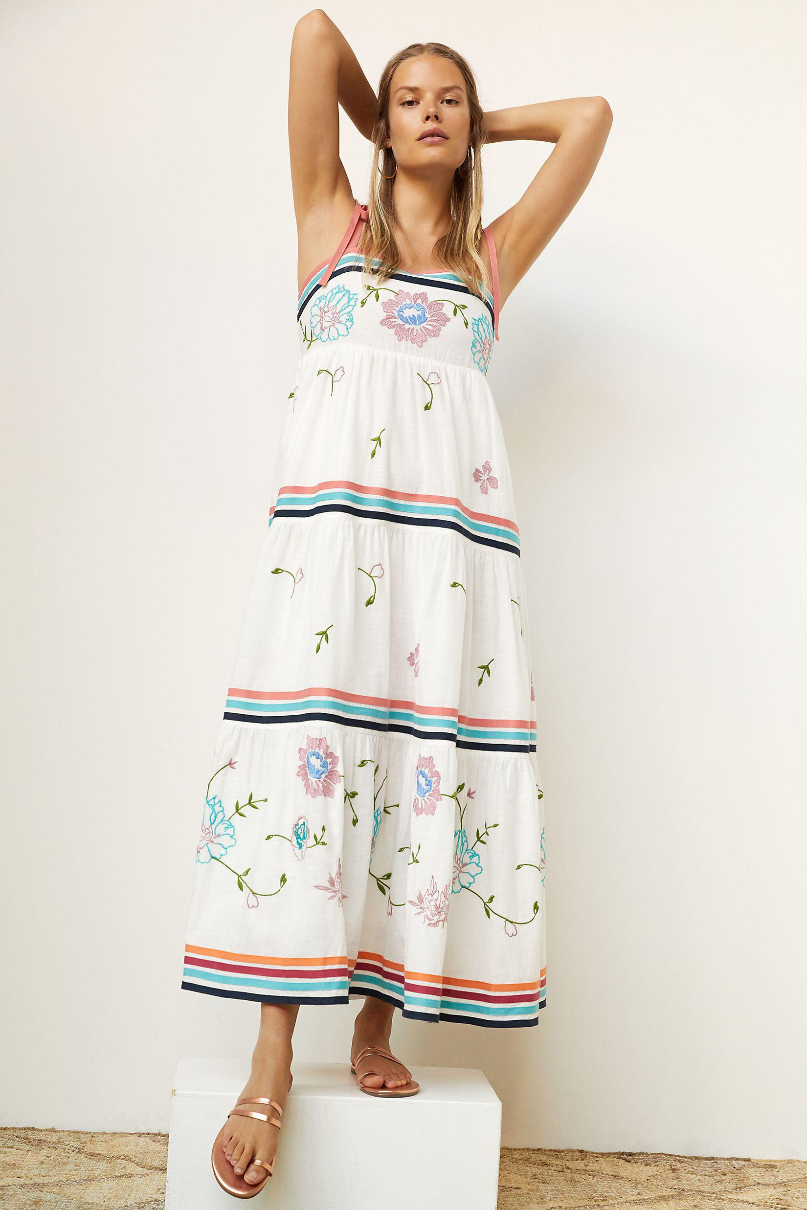 Tiered Embroidered Midi Dress