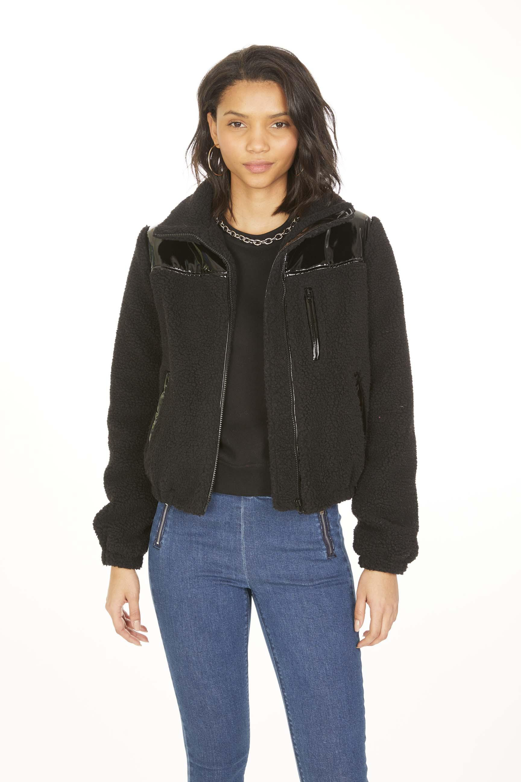 Cedric Patent Leather Sherpa Bomber