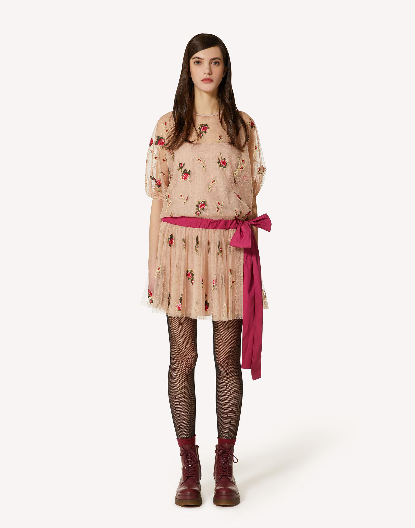 SWEET ROSES EMBROIDERED POINT D'ESPRIT TULLE DRESS