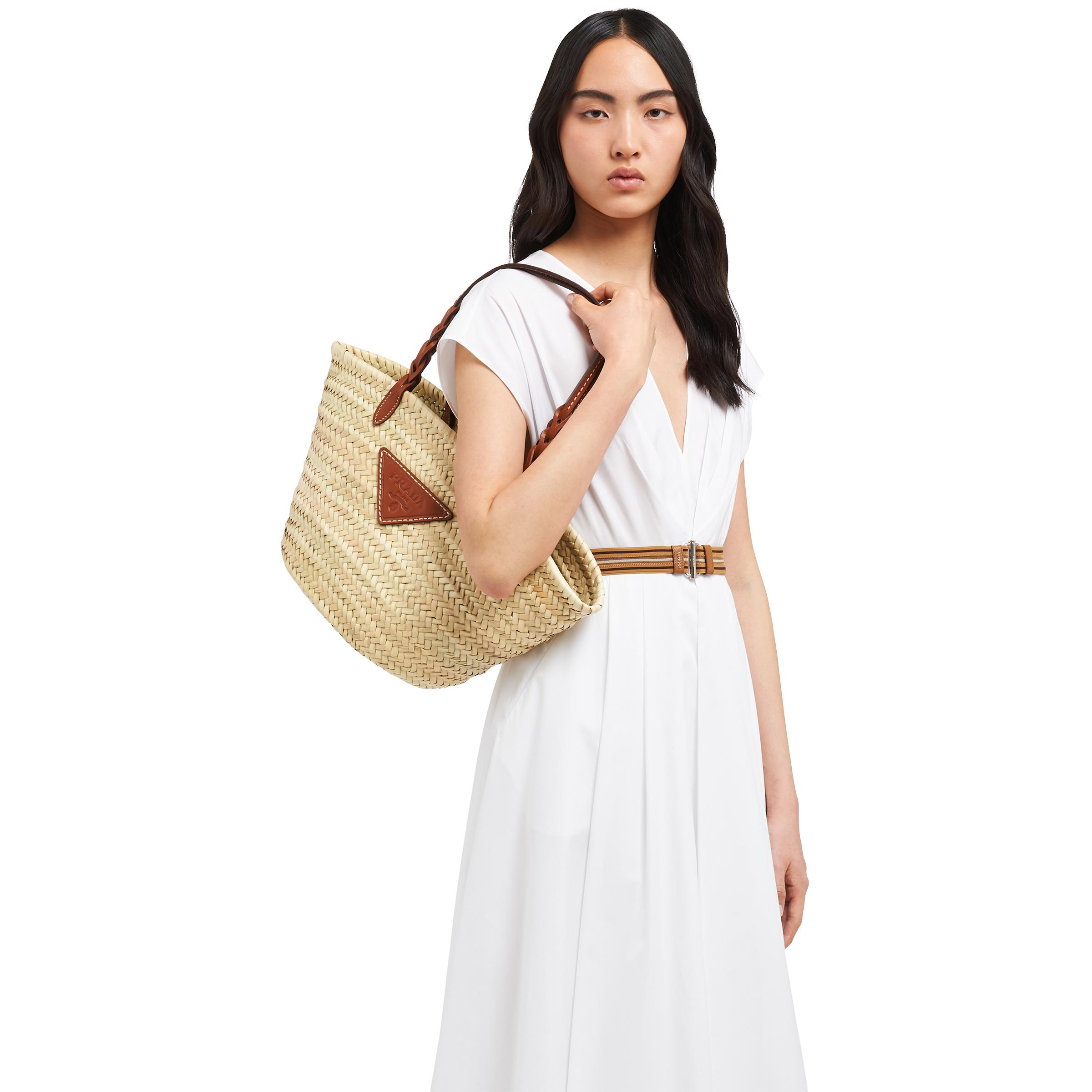Woven Palm And Leather Tote Women Beige/cognac 1