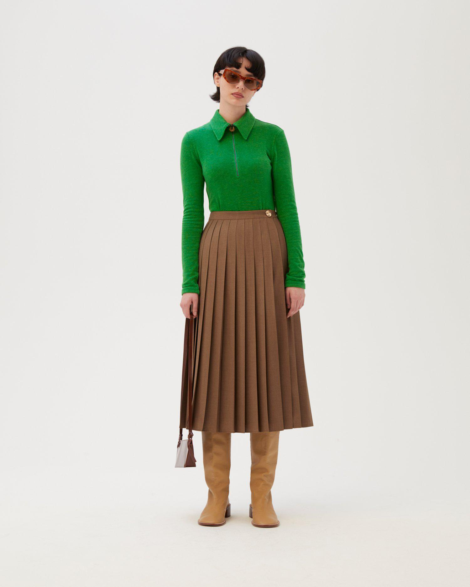 Kitty Skirt Wool Blend Suiting Brown