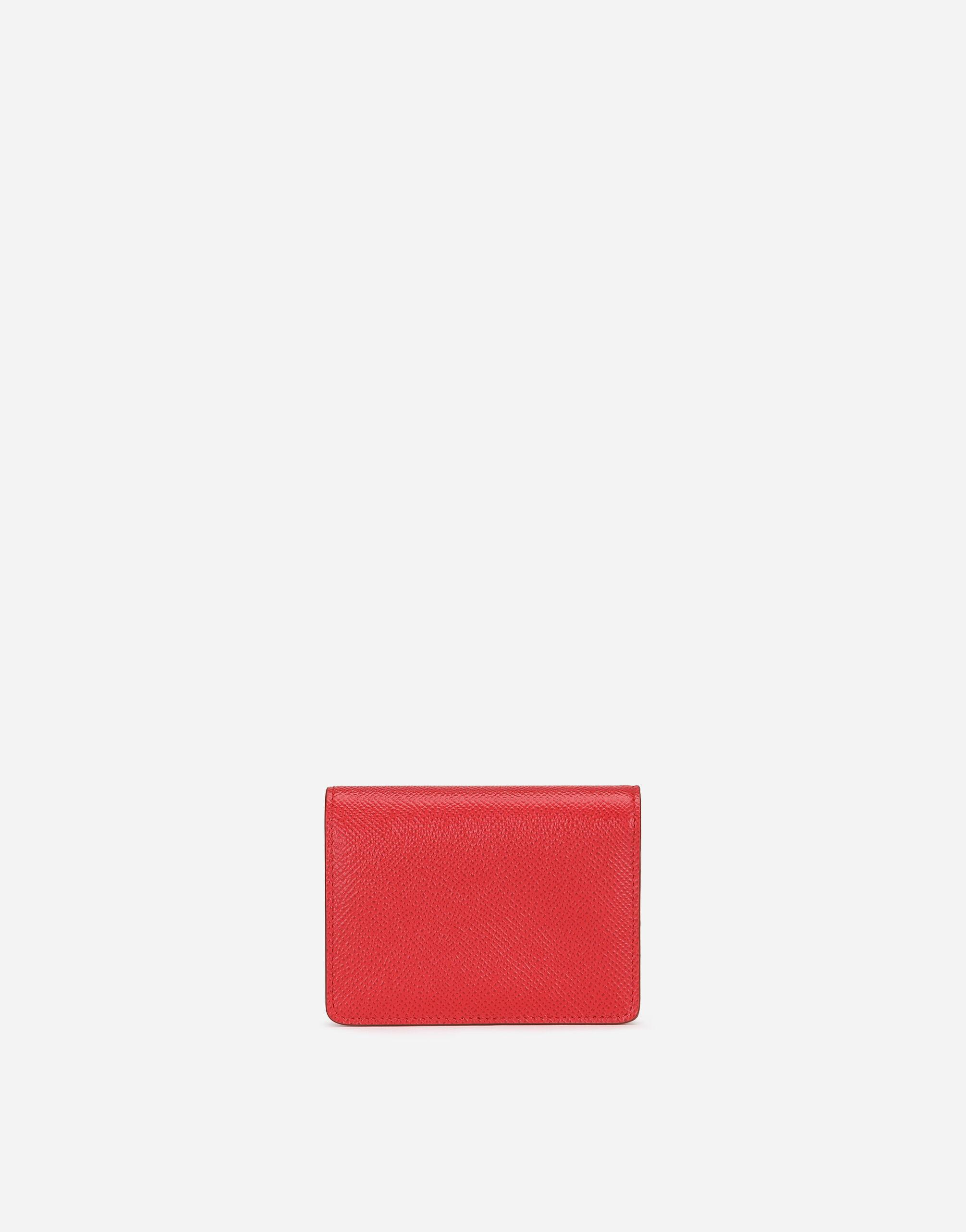 Small continental wallet in Dauphine calfskin with rhinestone DG detail 2