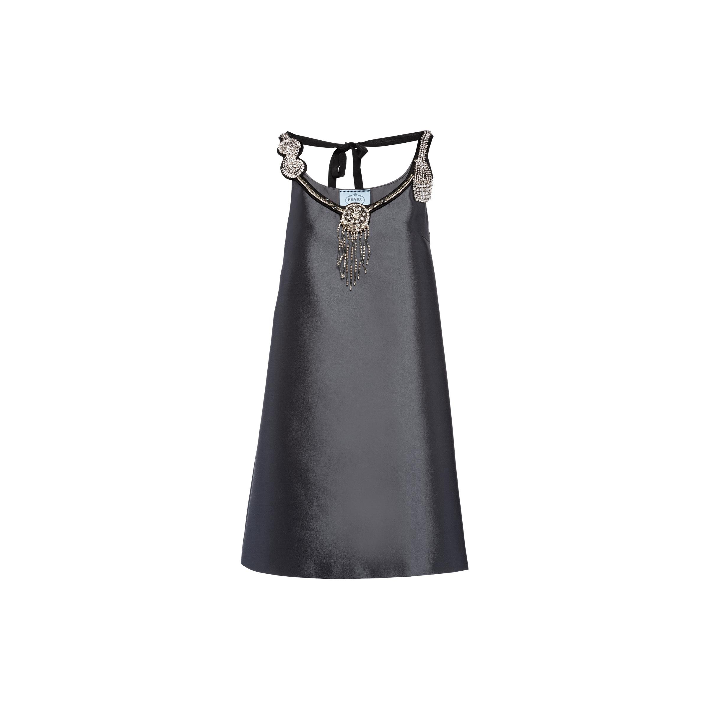 Wool And Silk Embroidered Dress Women Iron Gray