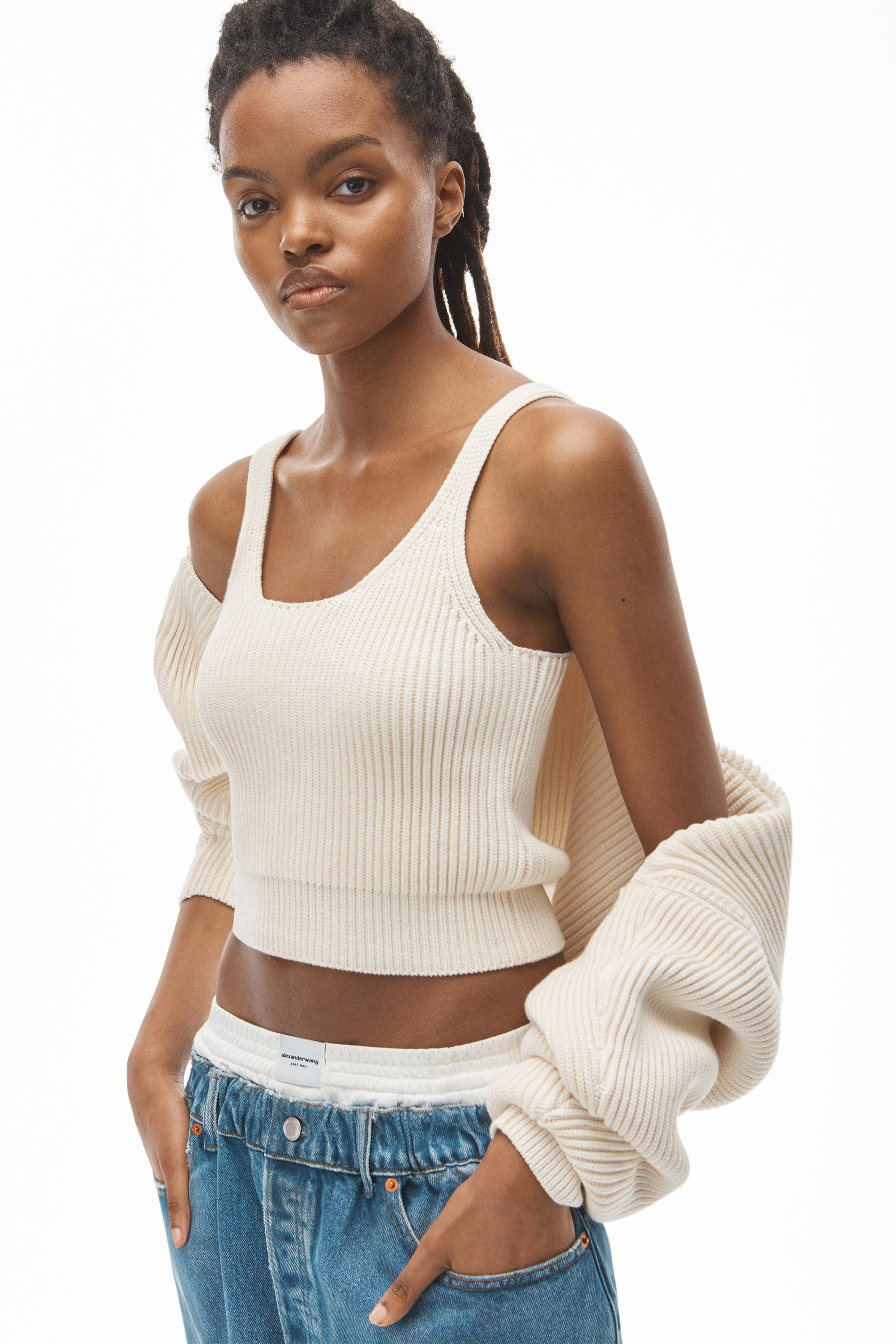 crewneck shrug in ribbed cotton chainette 3