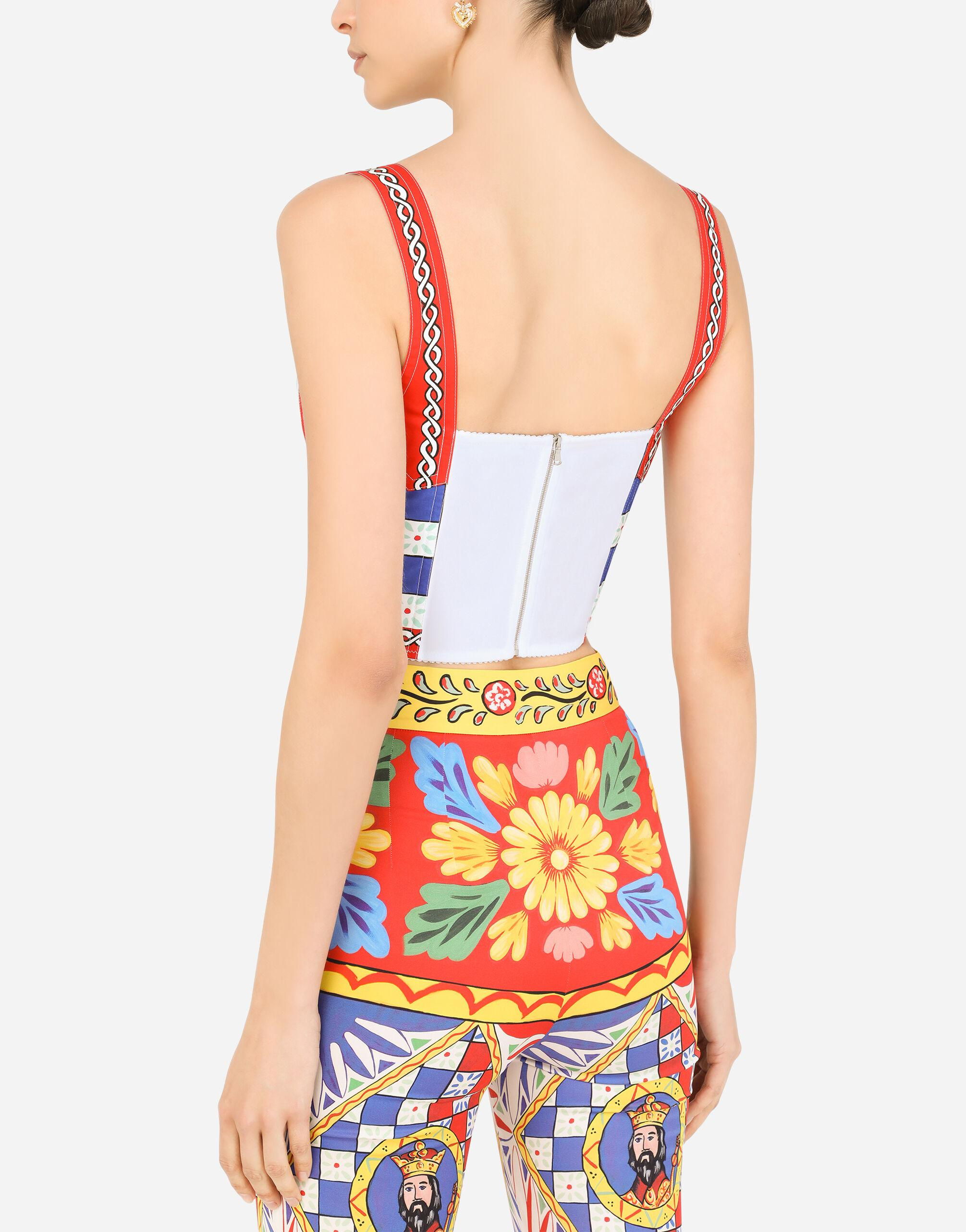 Carretto-print charmeuse bustier top 3
