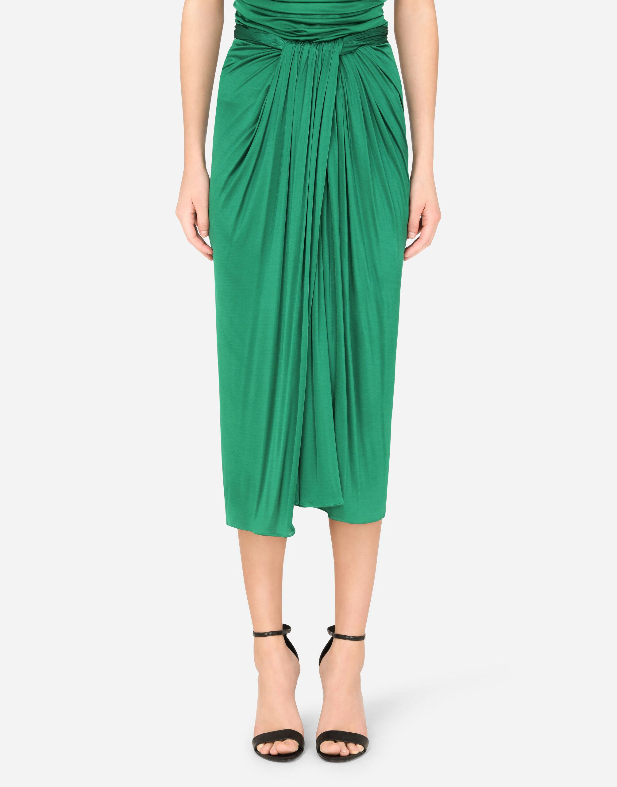 Longuette skirt in jersey with draping