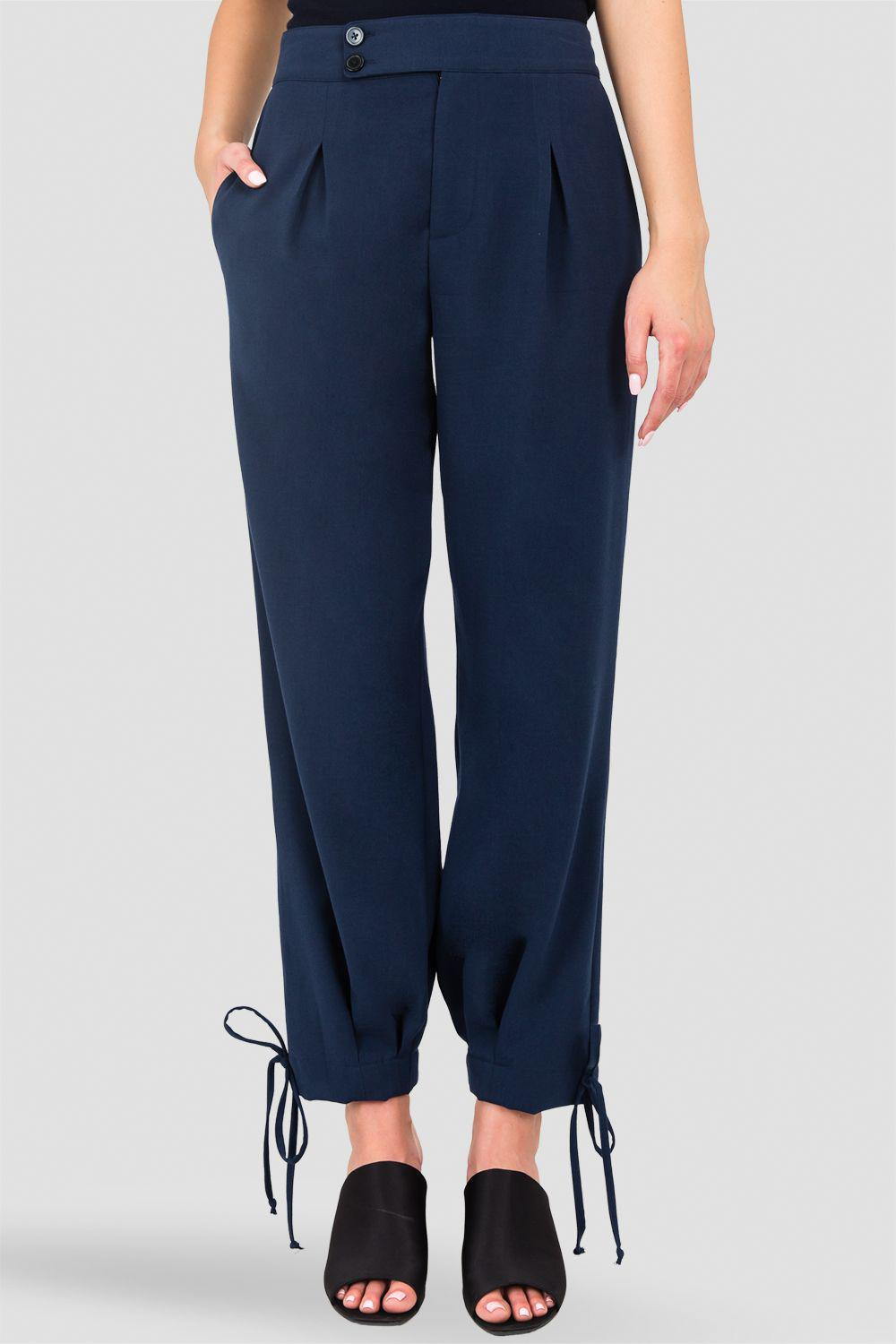 Robie Double-Button High Waist Ankle Tie Cuff Trousers - Midnight Blue