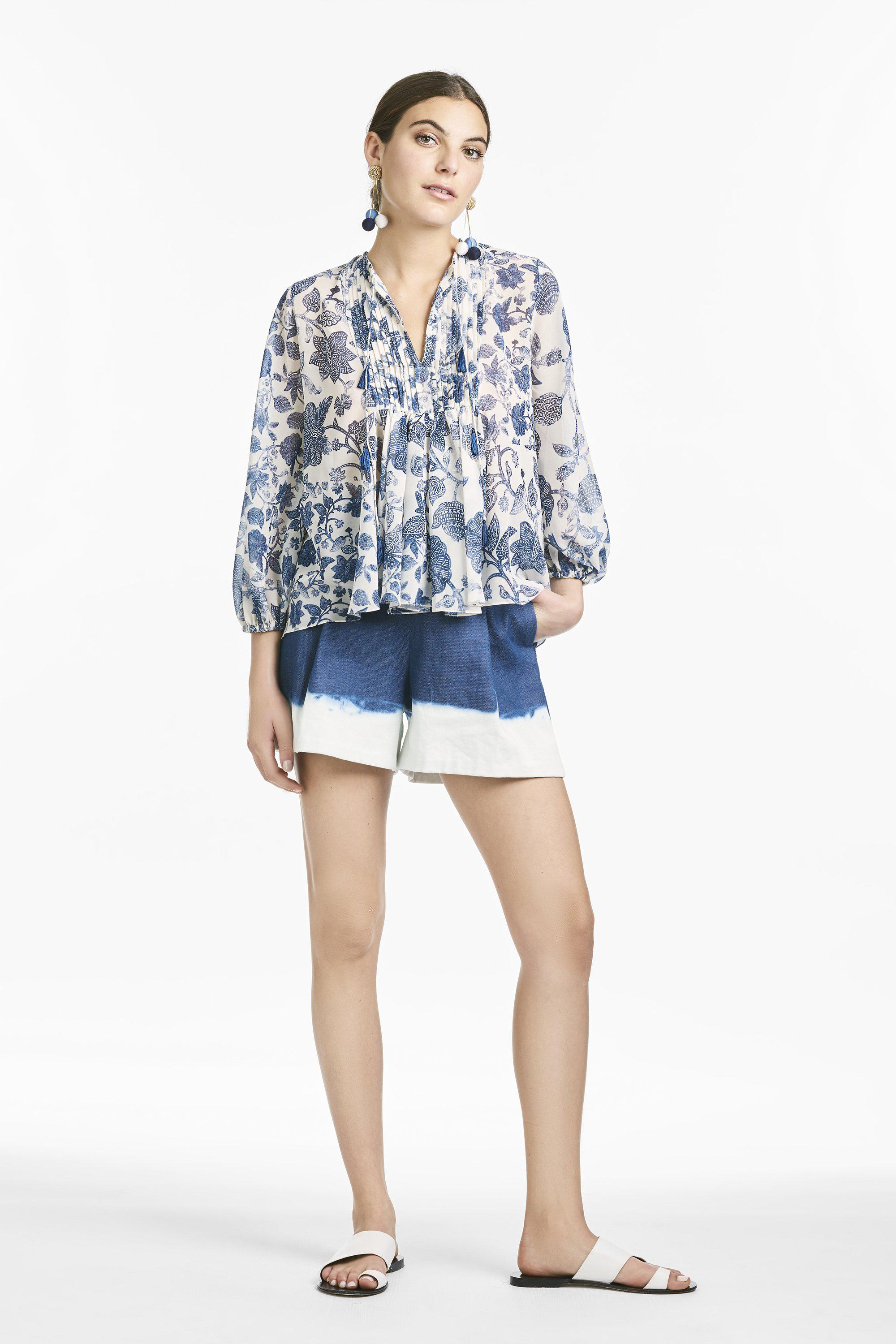 Chelsea Blouse - Indigo & Ivory Watercolor Tapestry
