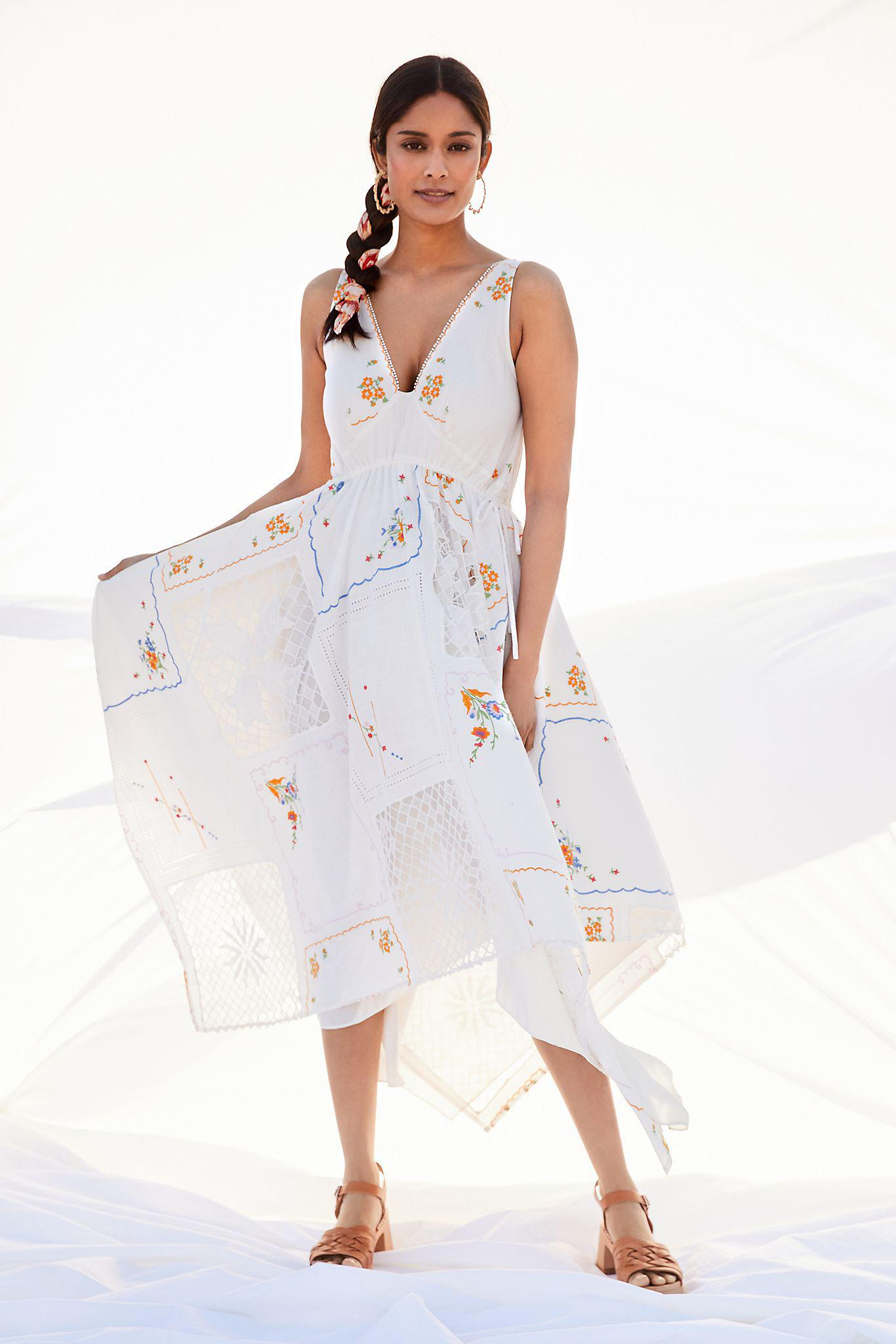 Embroidered Patchwork Maxi Dress