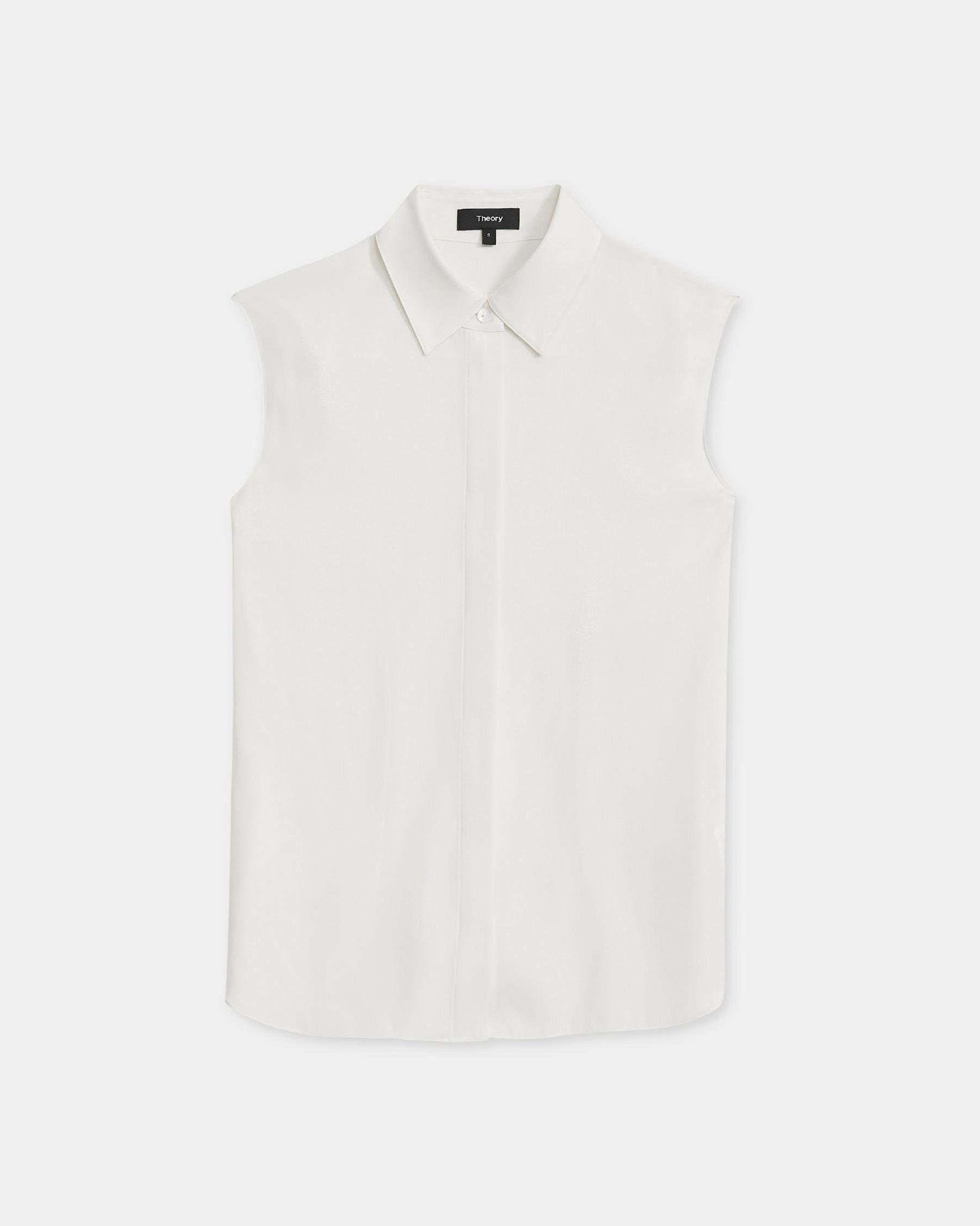Fitted Sleeveless Shirt in Stretch Silk 5