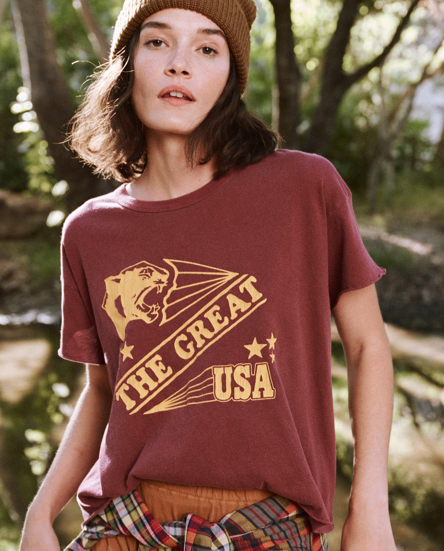The Crop Tee. Graphic -- Rosehip with Cougar Graphic
