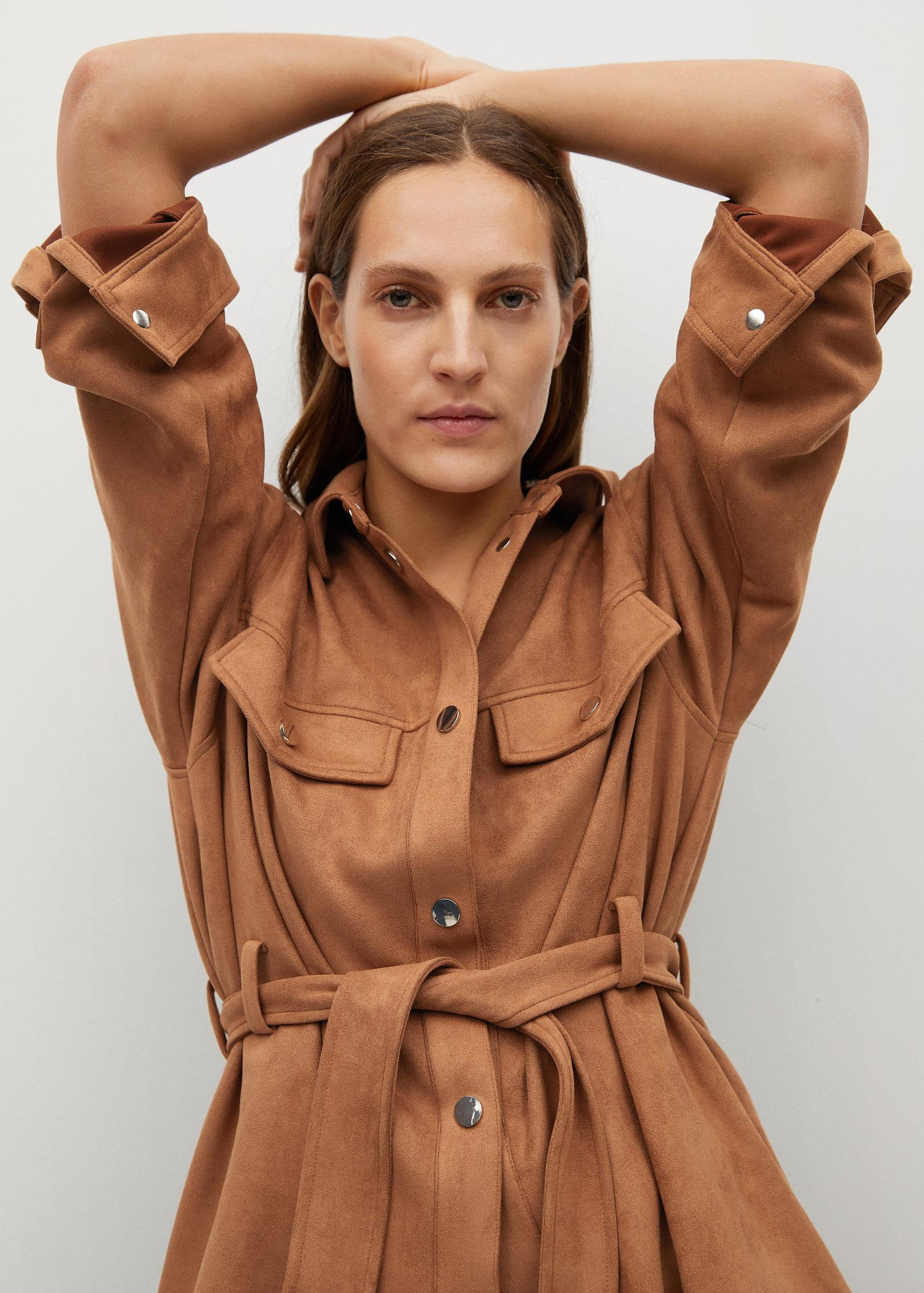 Leather-effect jacket with belt 2