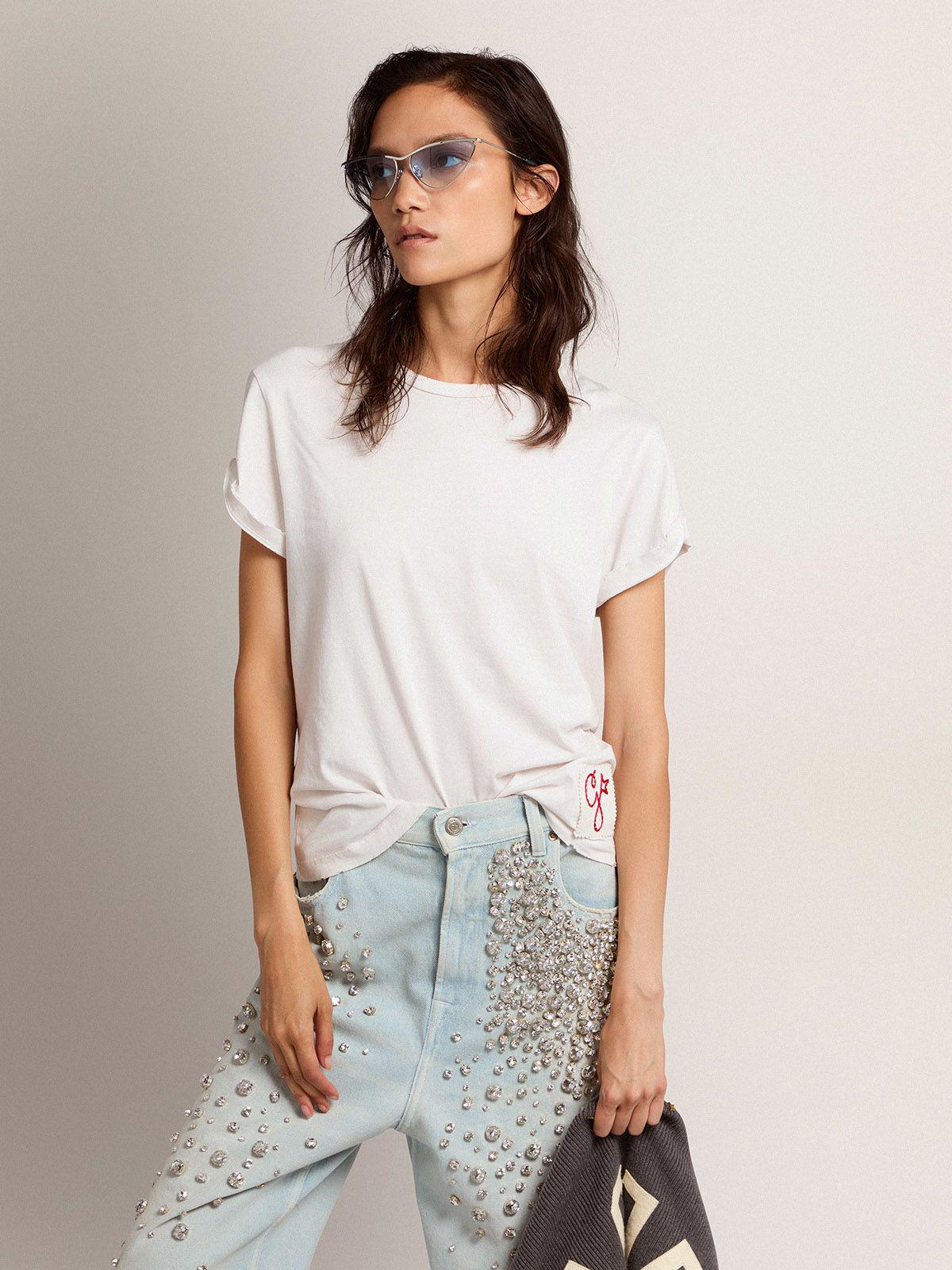 Golden Collection T-shirt in white with a distressed treatment