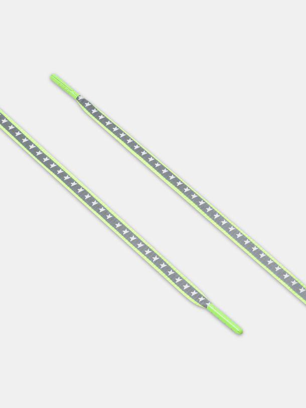 Women's neon green reflective laces with stars
