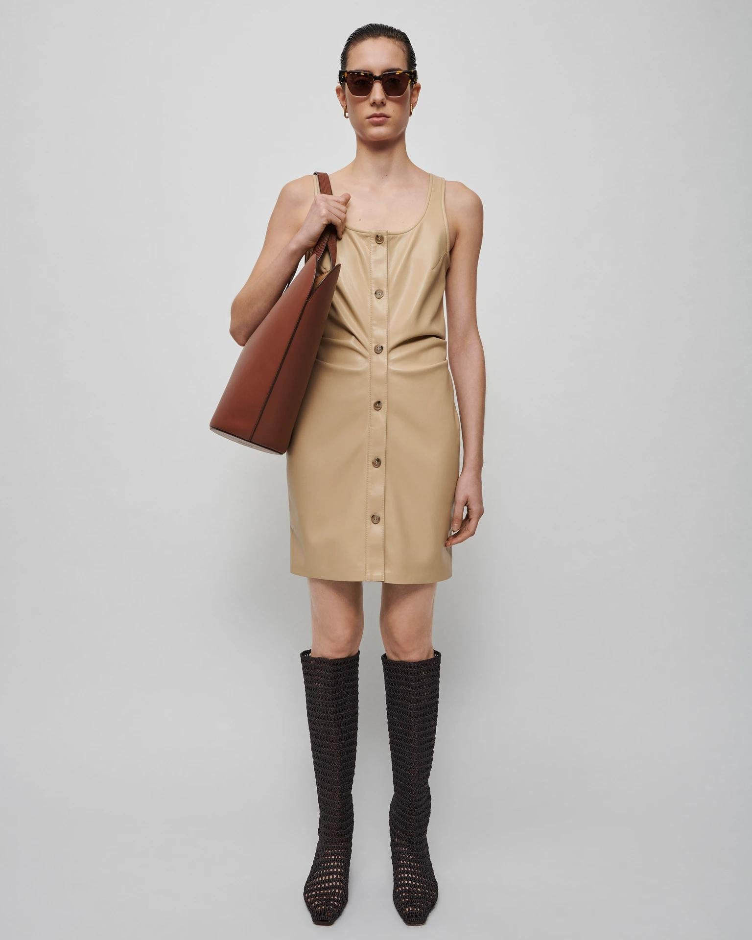 ERNIE - Ruched vegan leather dress - Butter