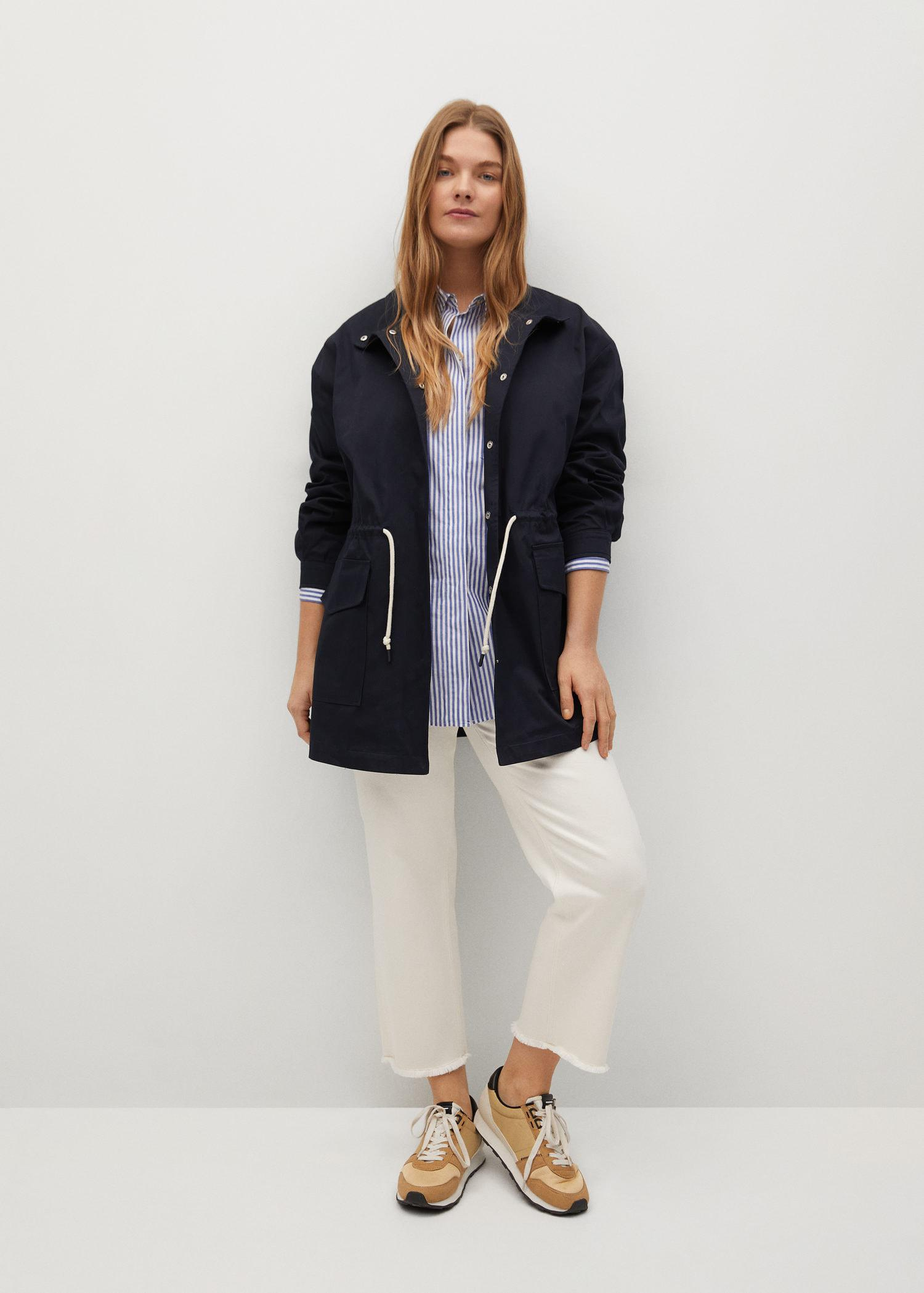 Trench coat with ruffle detail